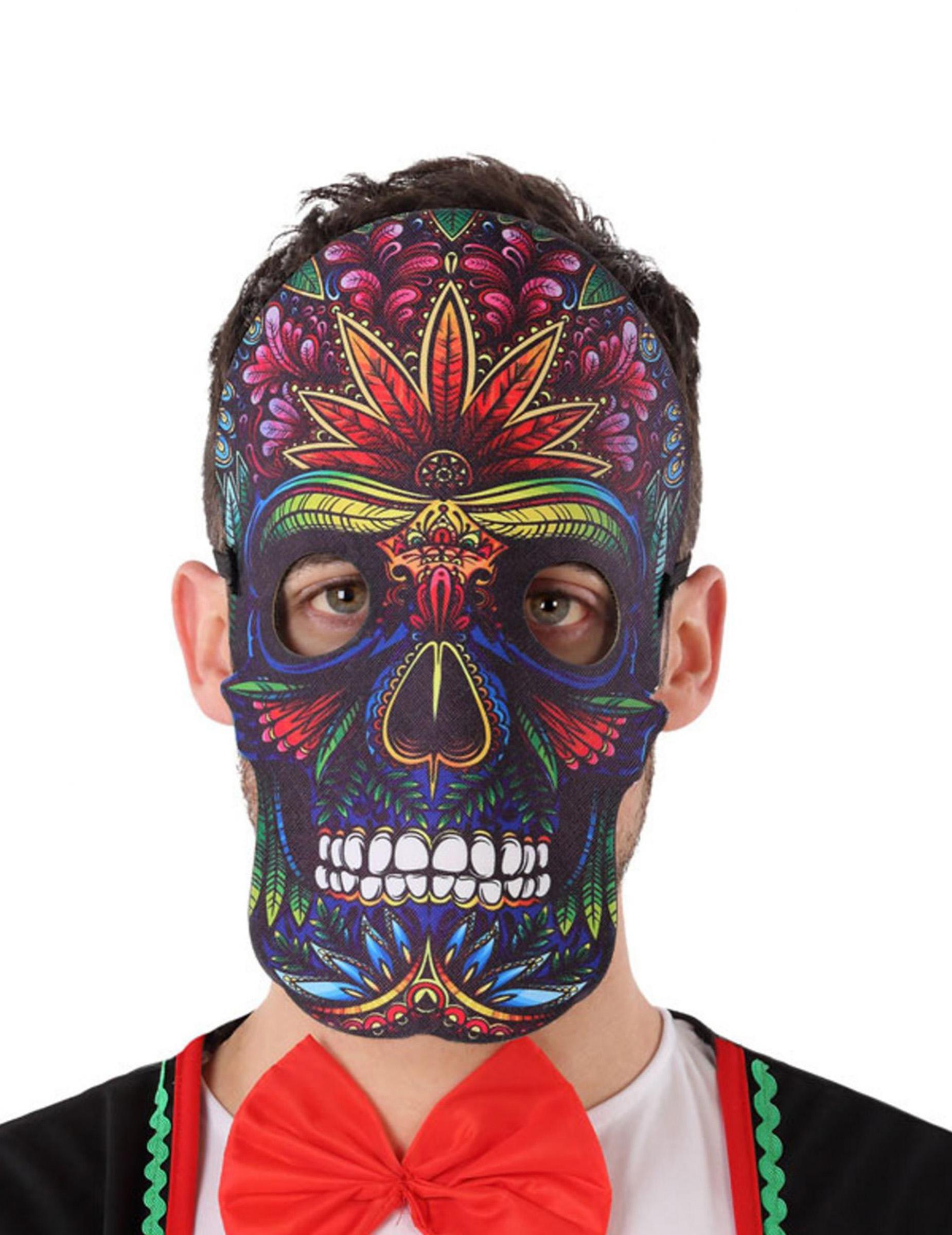 #Sugar Skull-Maske Tag der Toten Halloween Zubehör bunt#