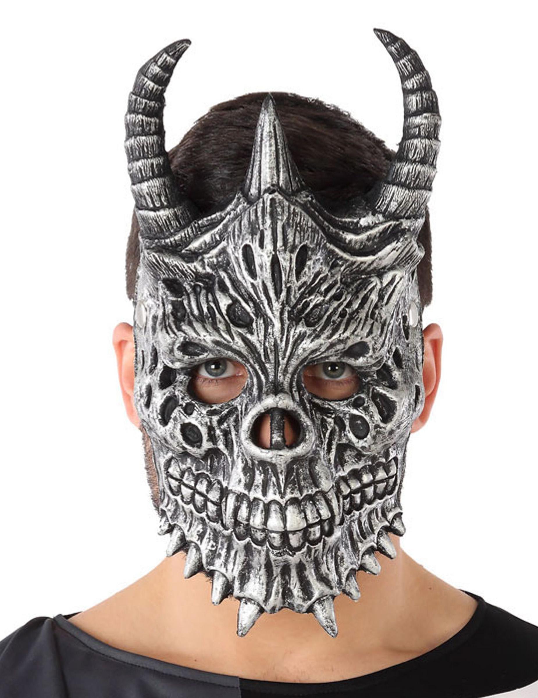 skelett drachenmaske für erwachsene kostümzubehör grau