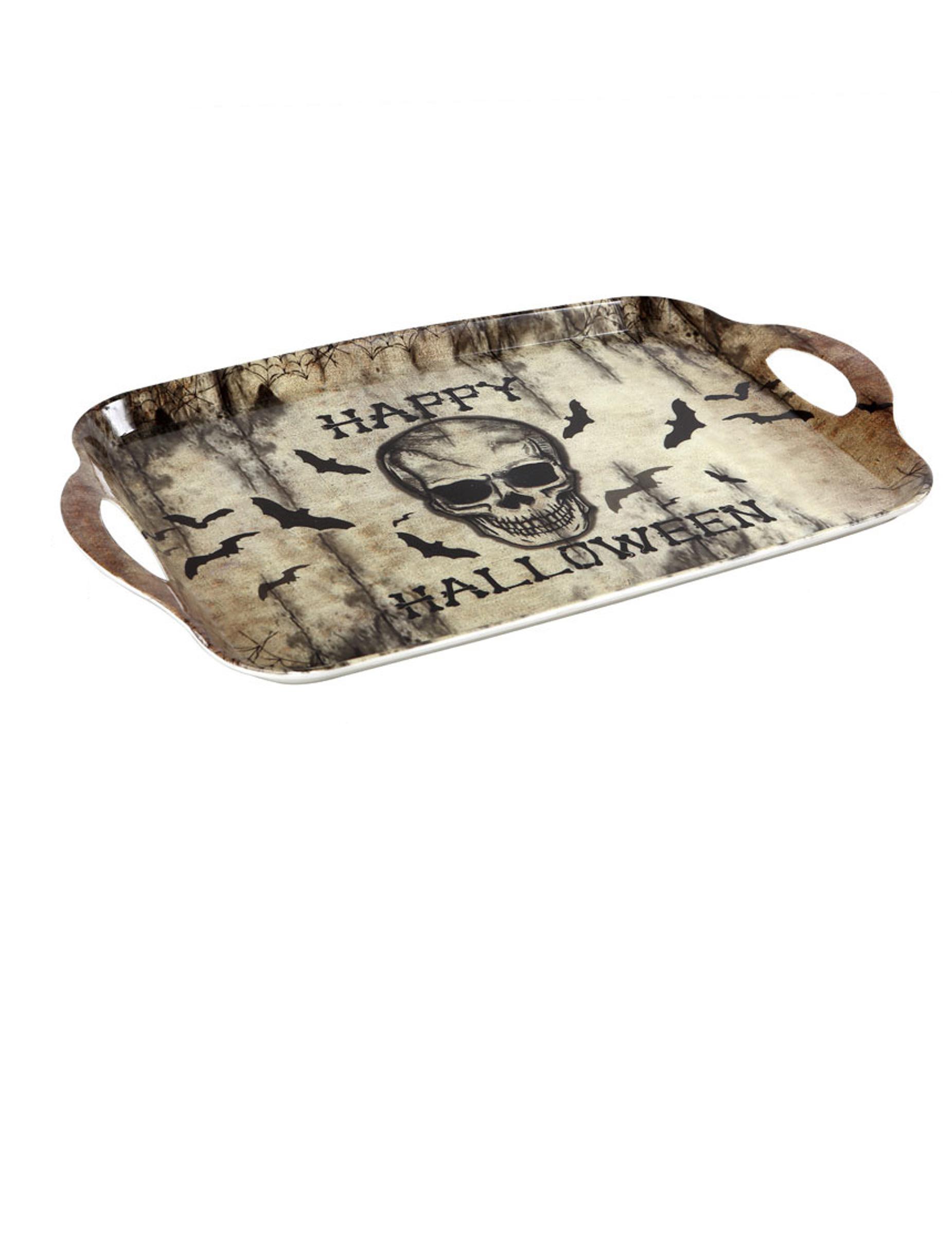 #Totenkopf Tablett Happy Halloween 43 x 28 cm#