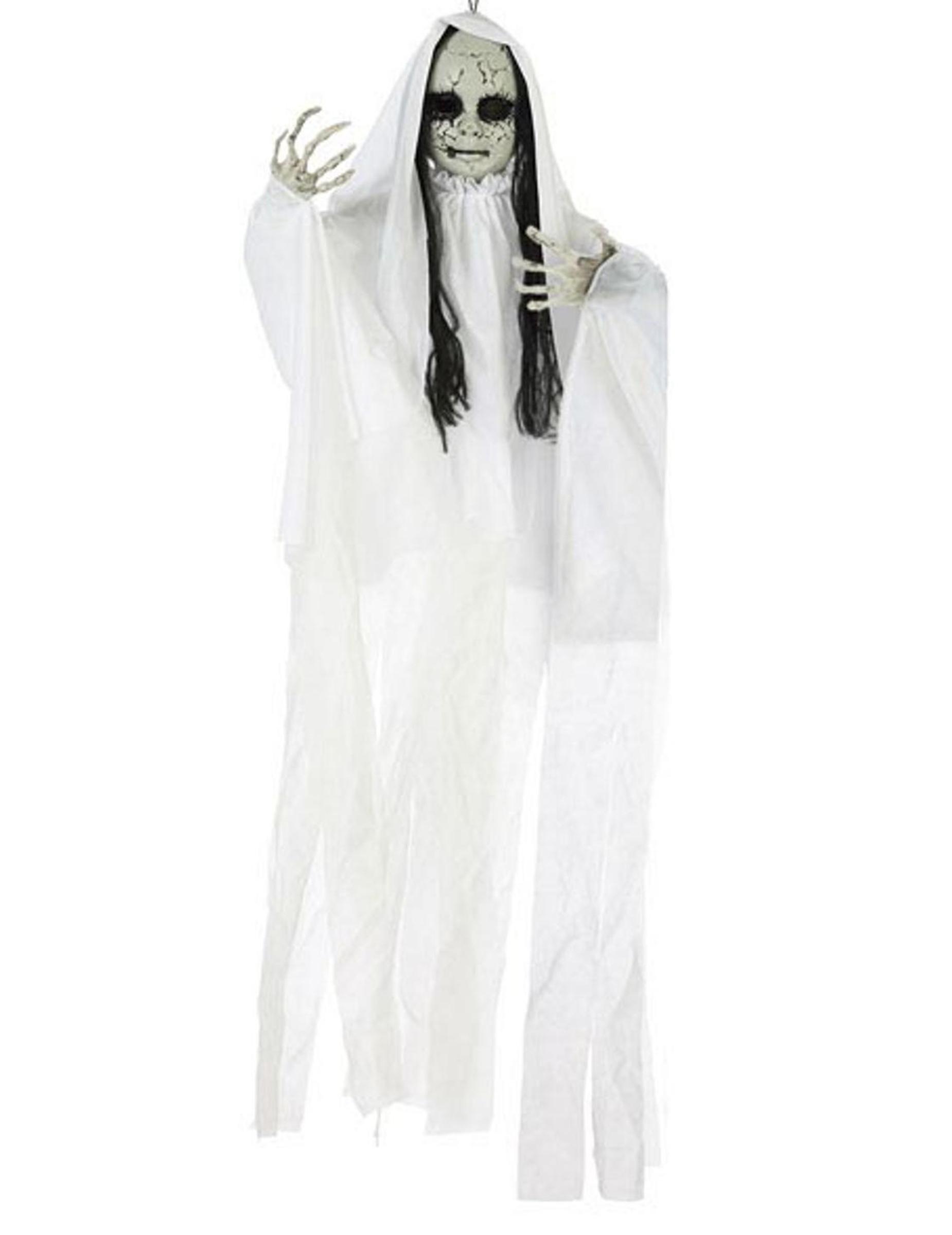Zombie-Mädchen Geister Hängedekoration weiss 100 x 70 cm 293178