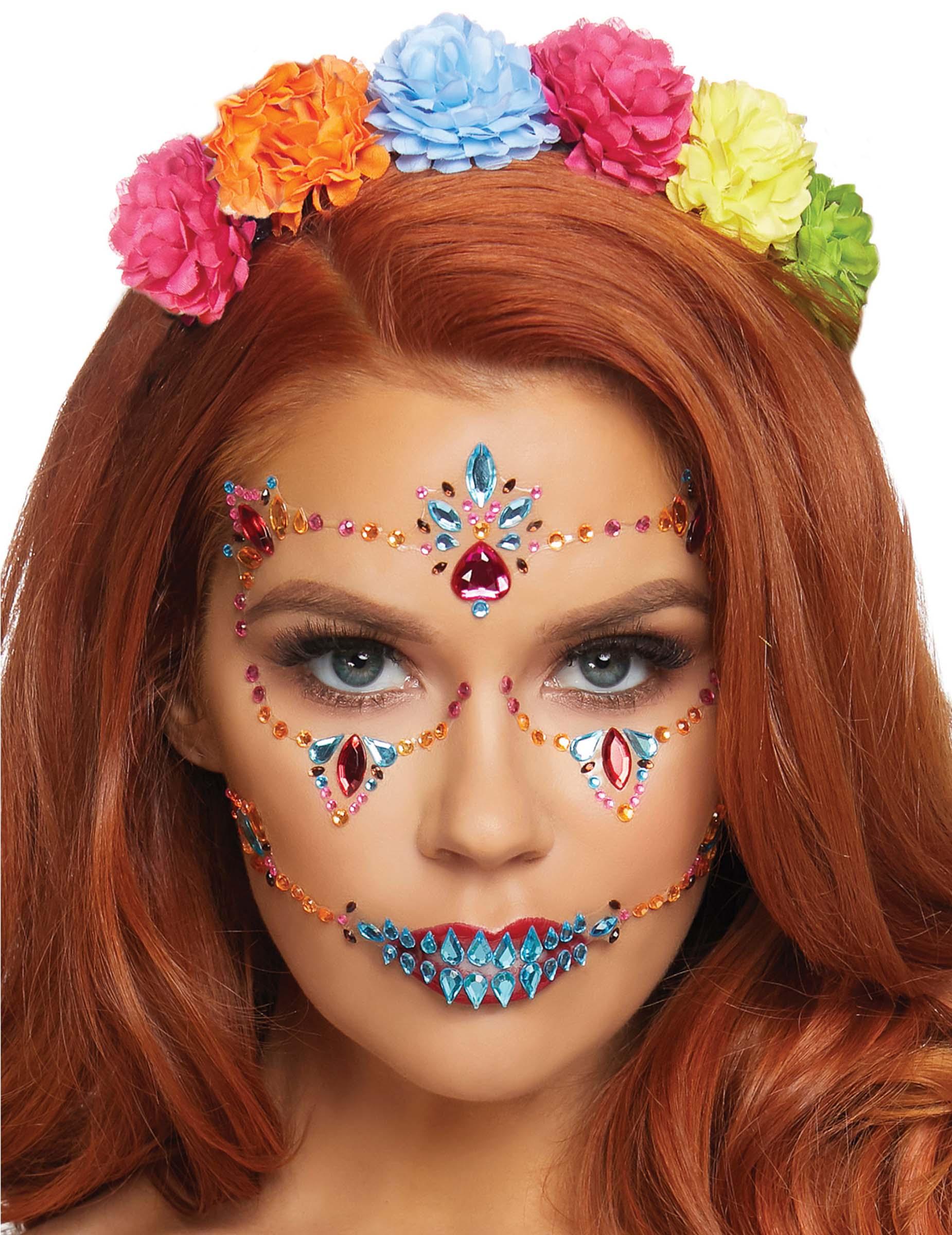 Dia de los muertos-Glitzersteine Make-up idee bunt 293438