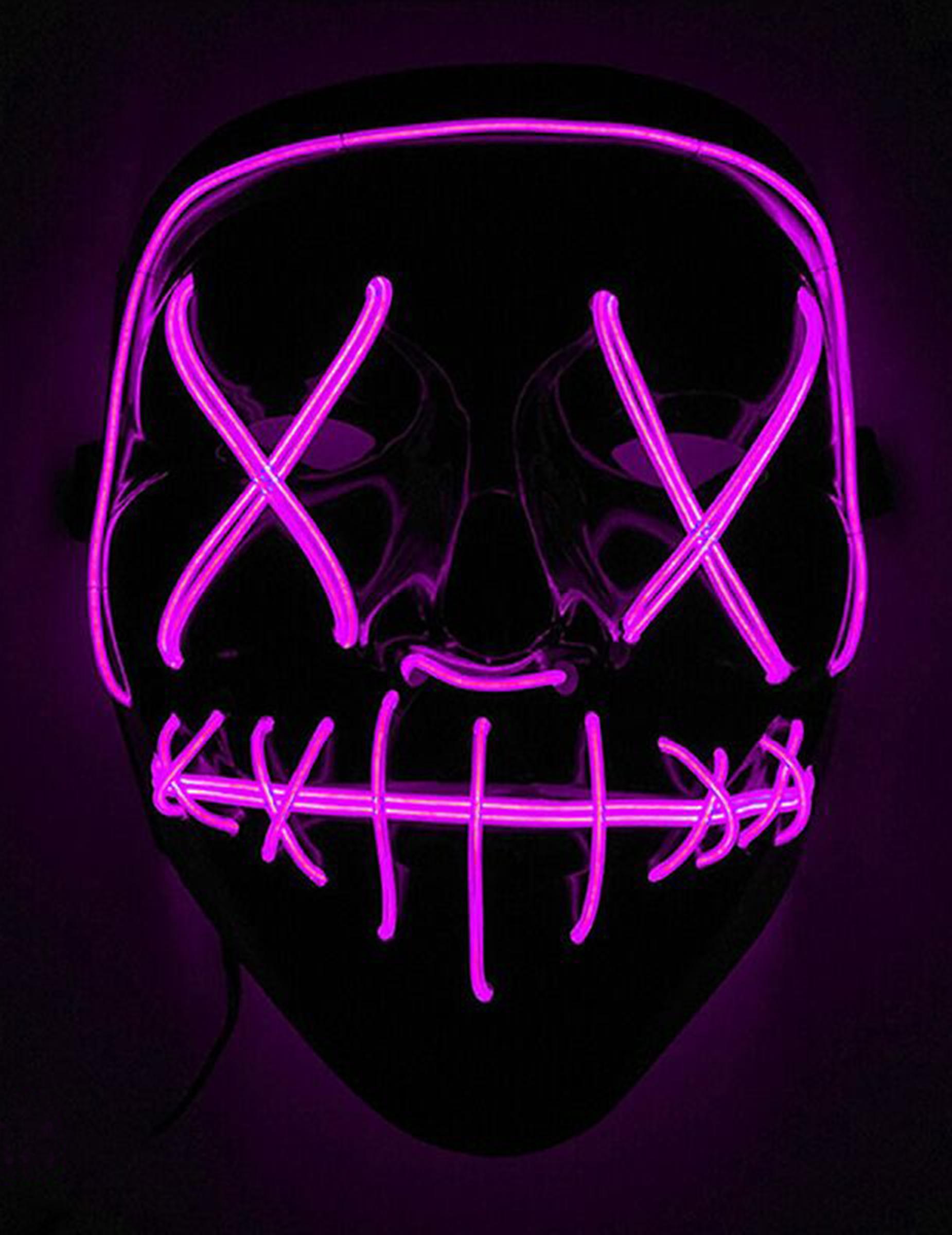 #Leuchtende LED-Maske Halloween-Maske Mordnacht schwarz-lila#