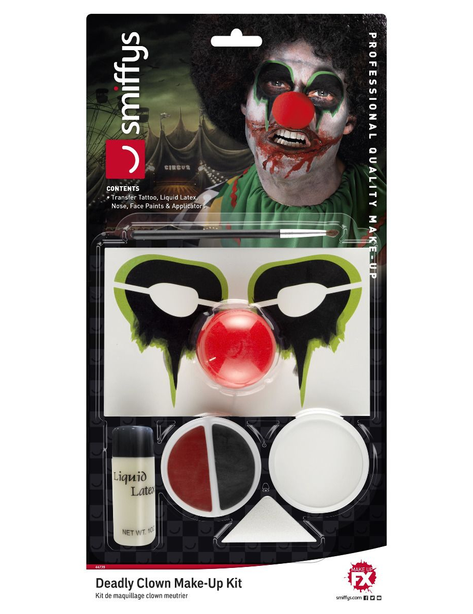 #Fieses Horrorclown-Make-up für Halloween 6-teilig bunt#