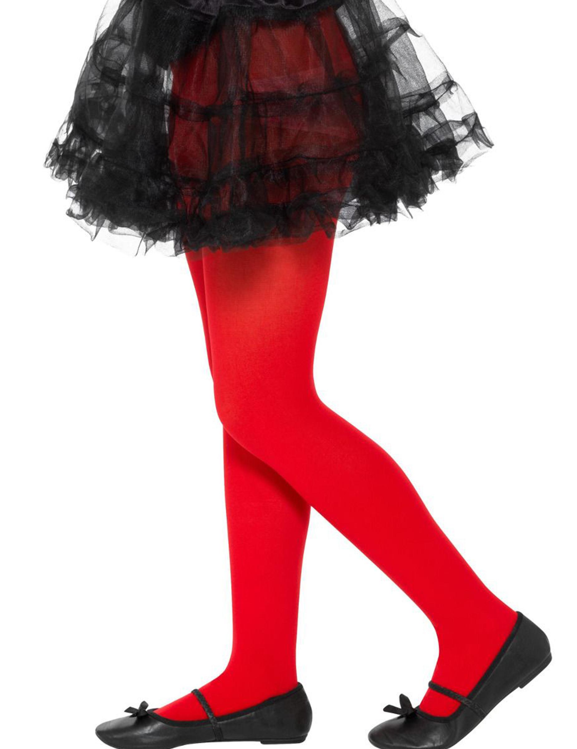 #Rote Strumpfhose blickdicht für Mädchen Einheitsgröße#