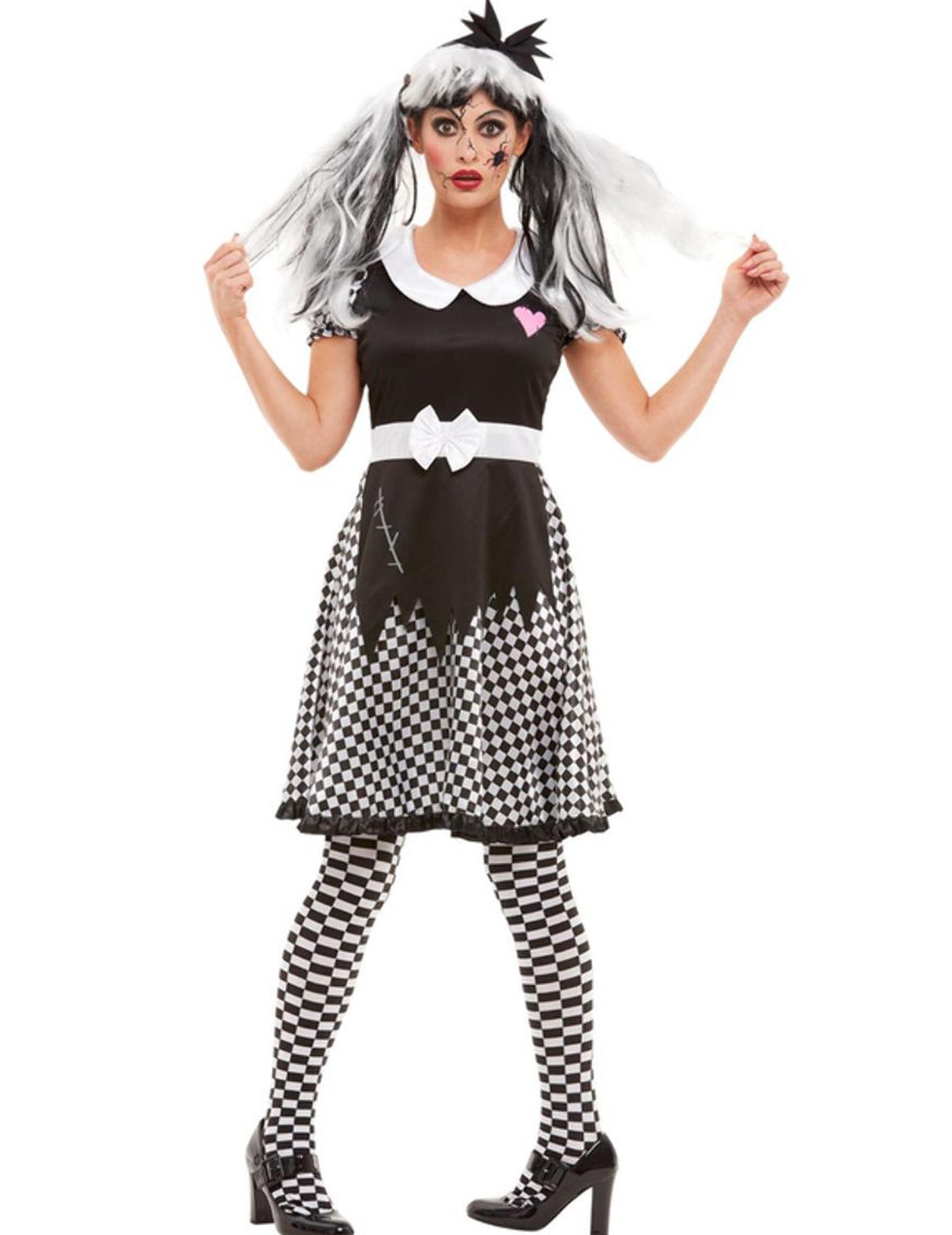Gruselige Horror-Puppe Damenkostüm für Halloween schwarz-weiss - XL 294949