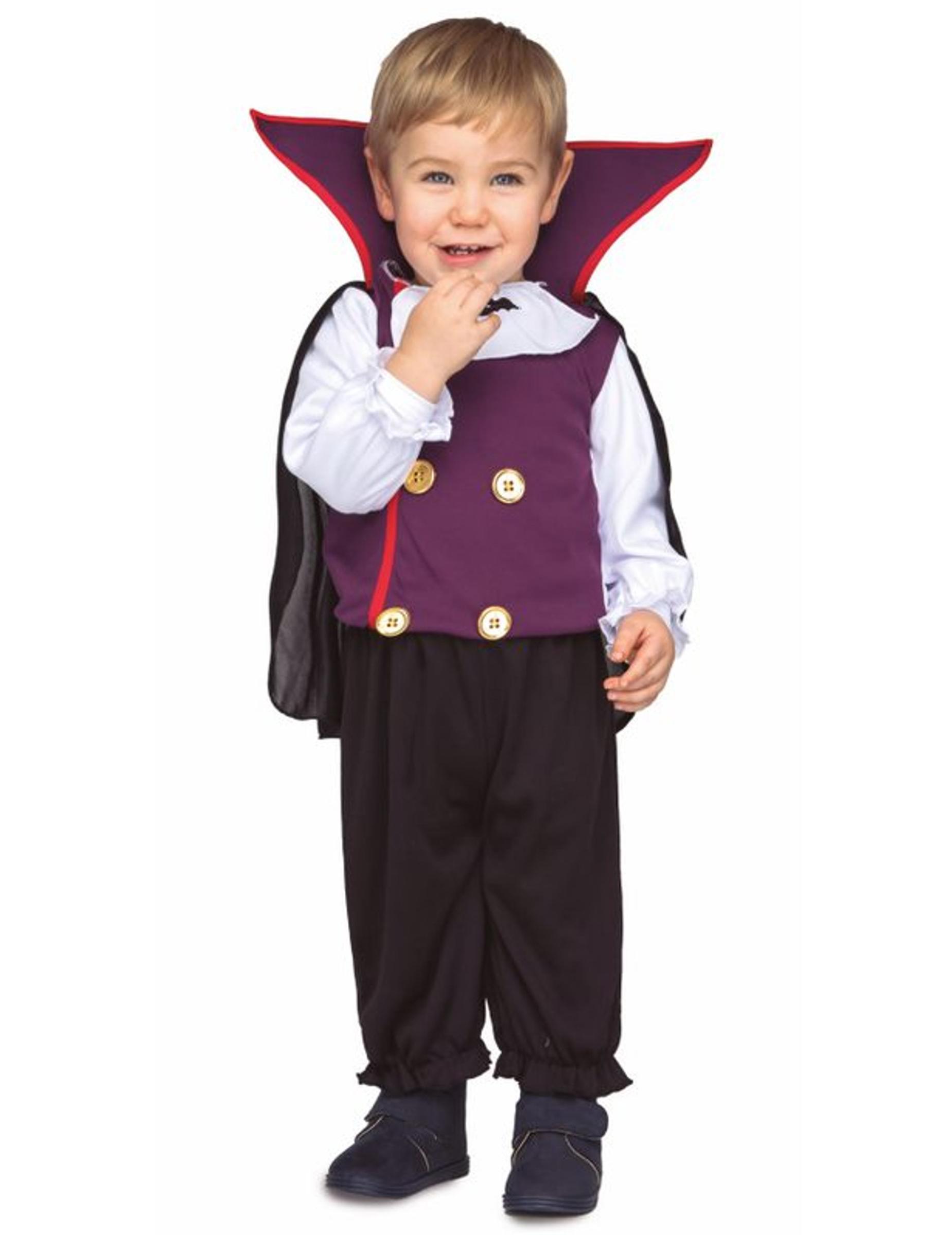 #Süßes Vampir-Kostüm für Kleinkinder Halloween-Verkleidung schwarz-lila#