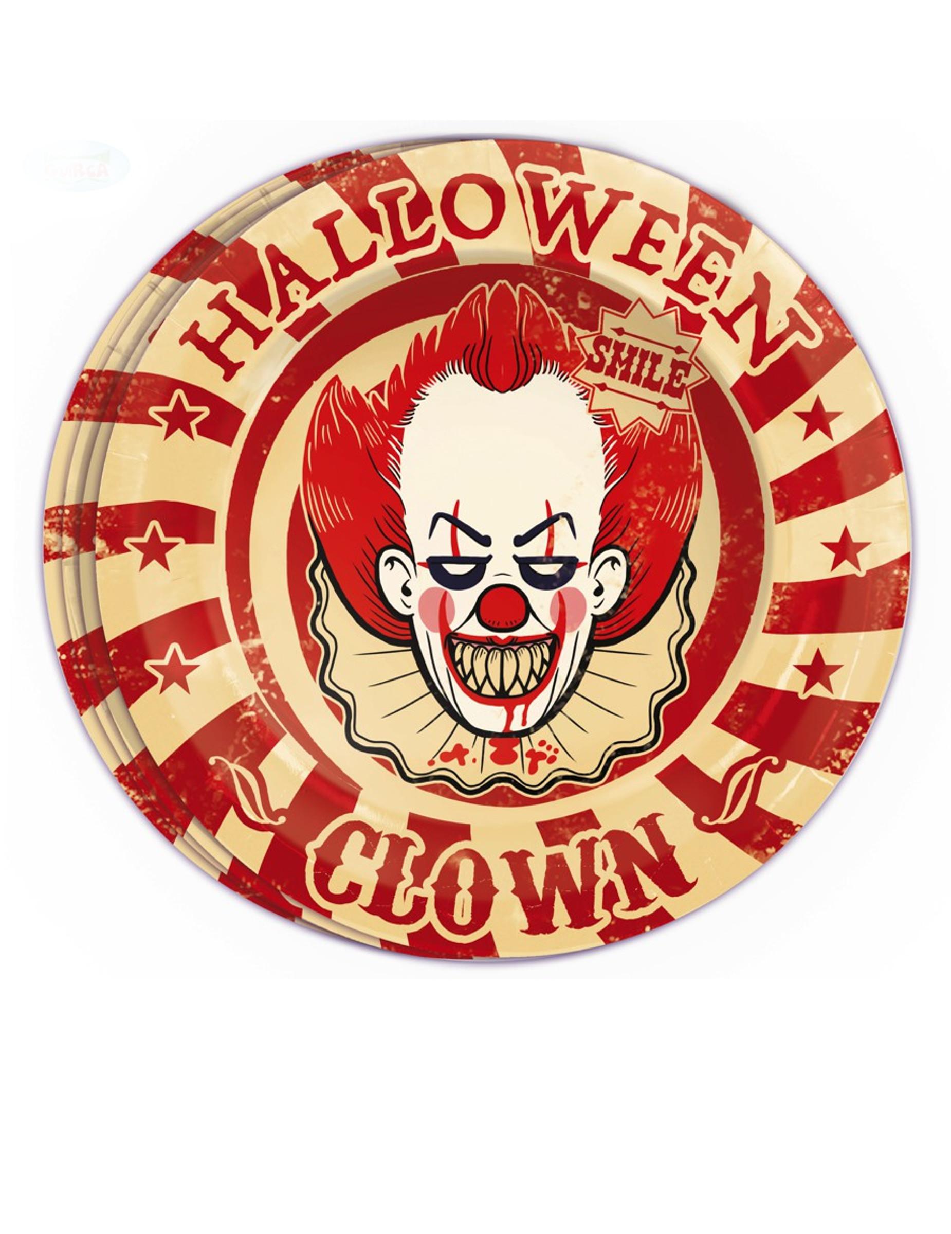#Pappteller Zombie-Clown Halloween Partydeko 8 Stück rot-weiss 23 cm#