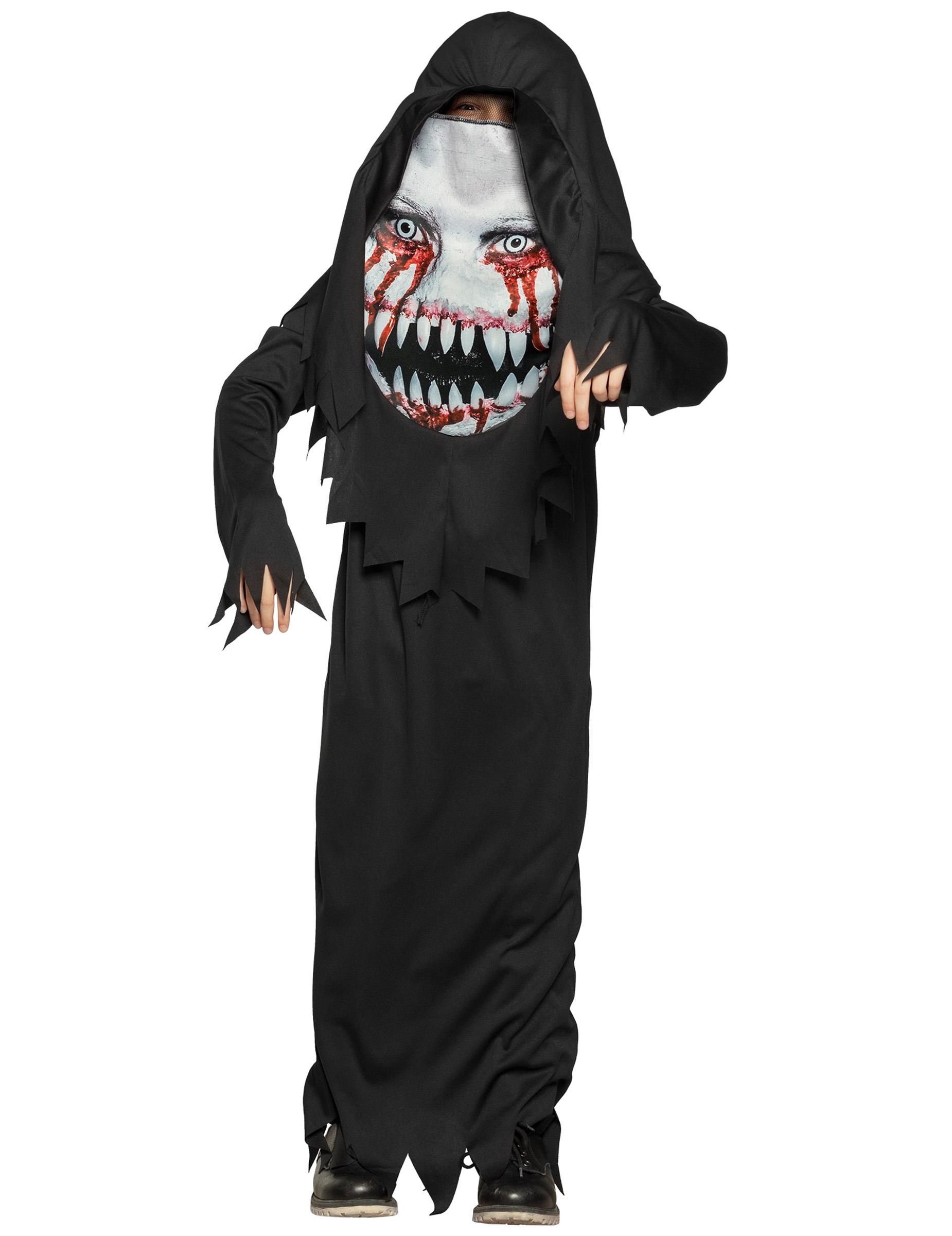 #Monster-Kinderkostüm mit übergroßer Maske für Halloween schwarz-weiss#