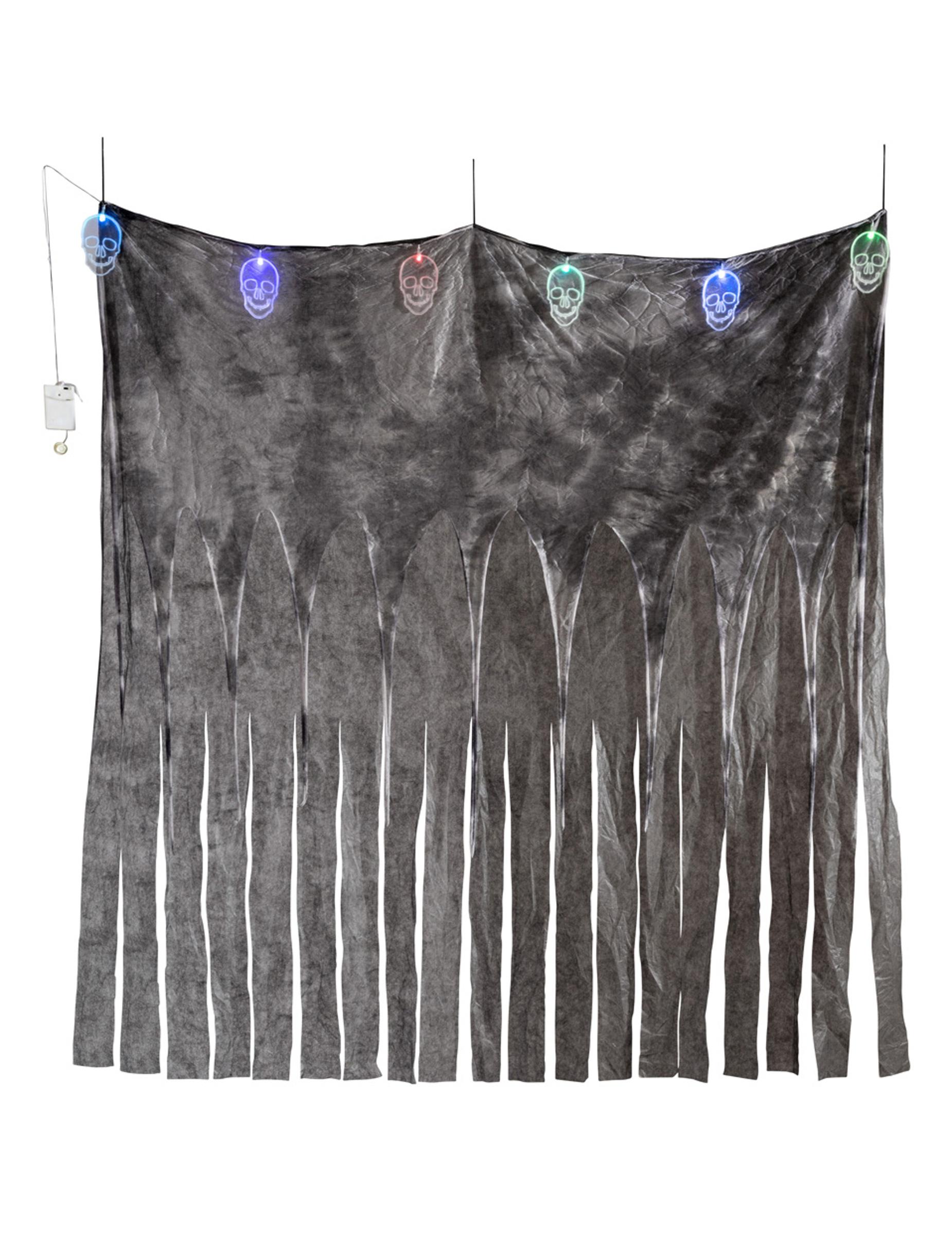 Düsterer Totenkopf-Vorhang für Halloween bunt 185 x 140 cm 295778