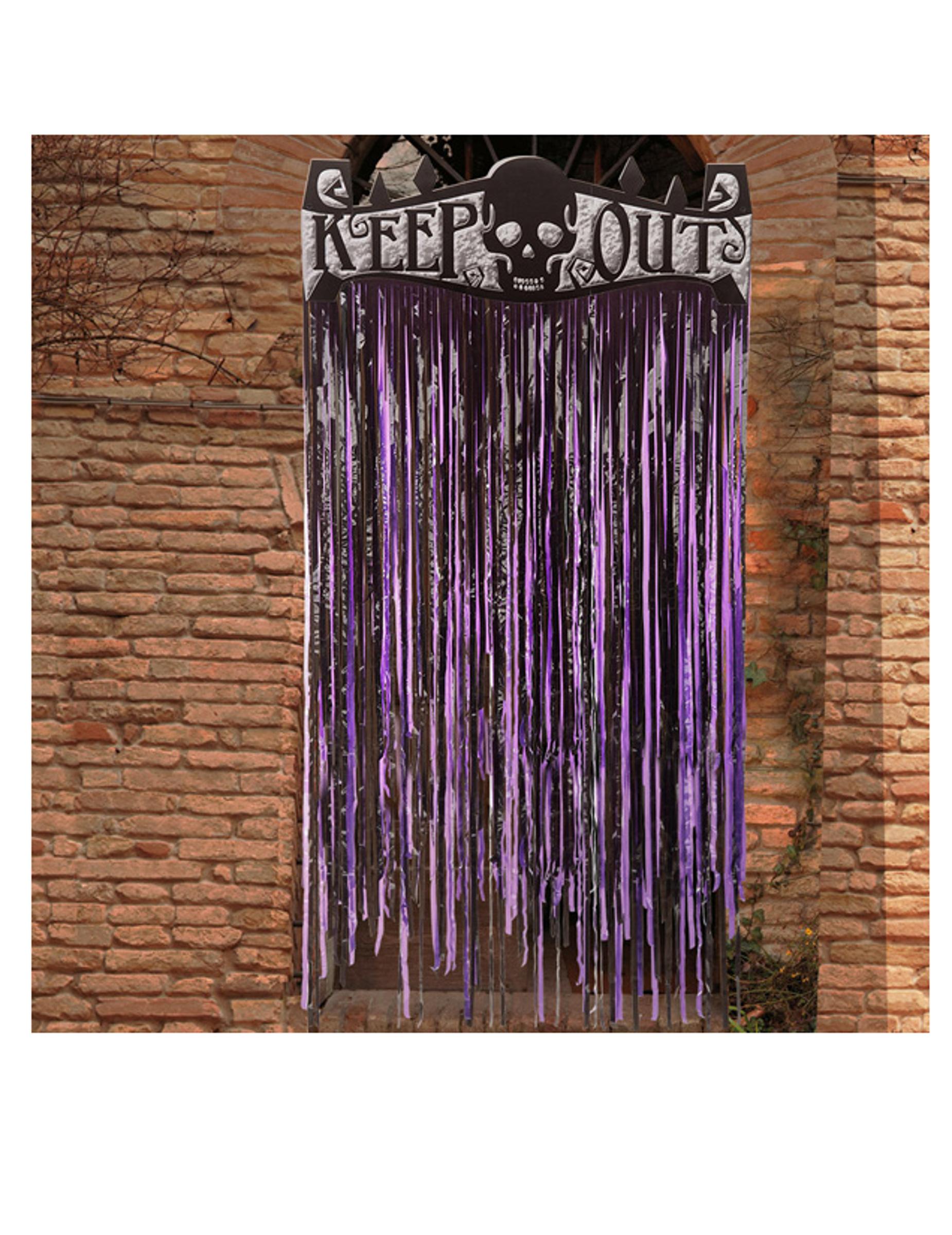 #Schauriger Vorhang für Halloween Raumdekoration violett-schwarz 145 x 90 cm#