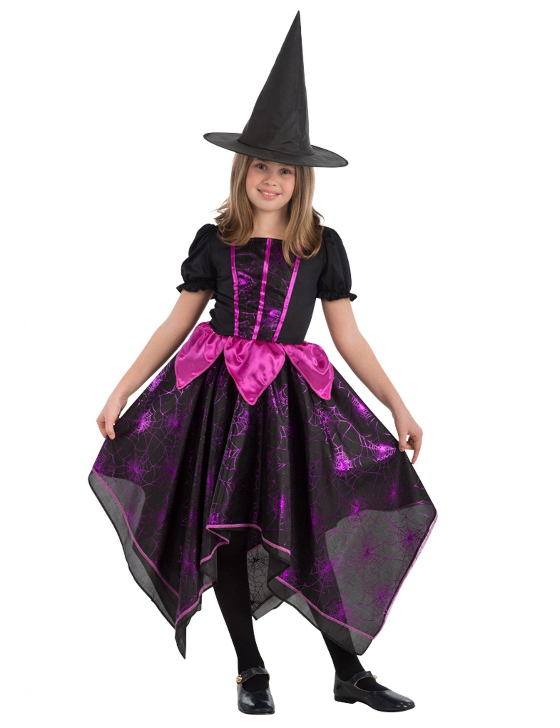 #Düstere Spinnen-Hexe Halloween-Kostüm für Mädchen schwarz-pink#