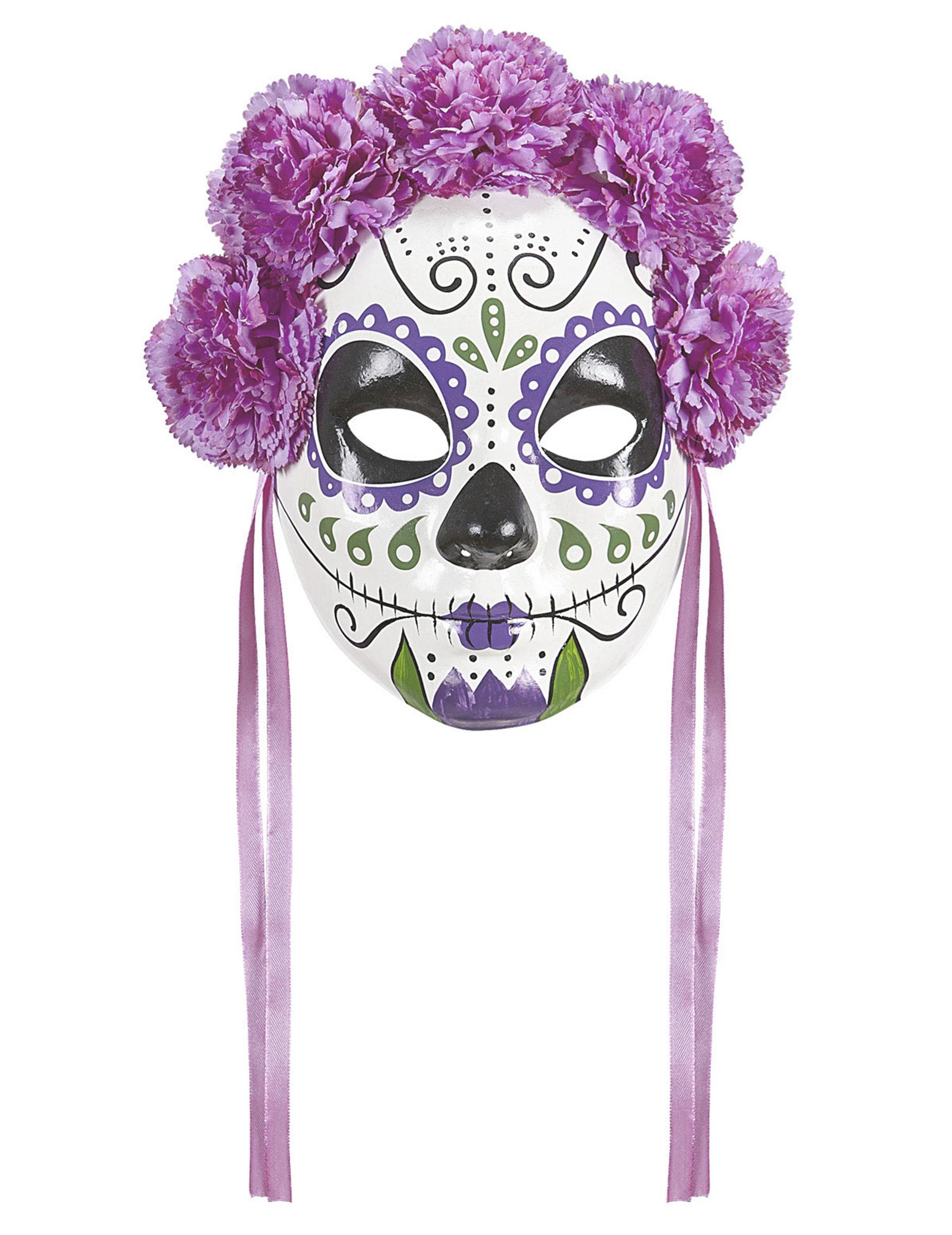 Tag der Toten Maske mit Blumen fliederfarben 296143