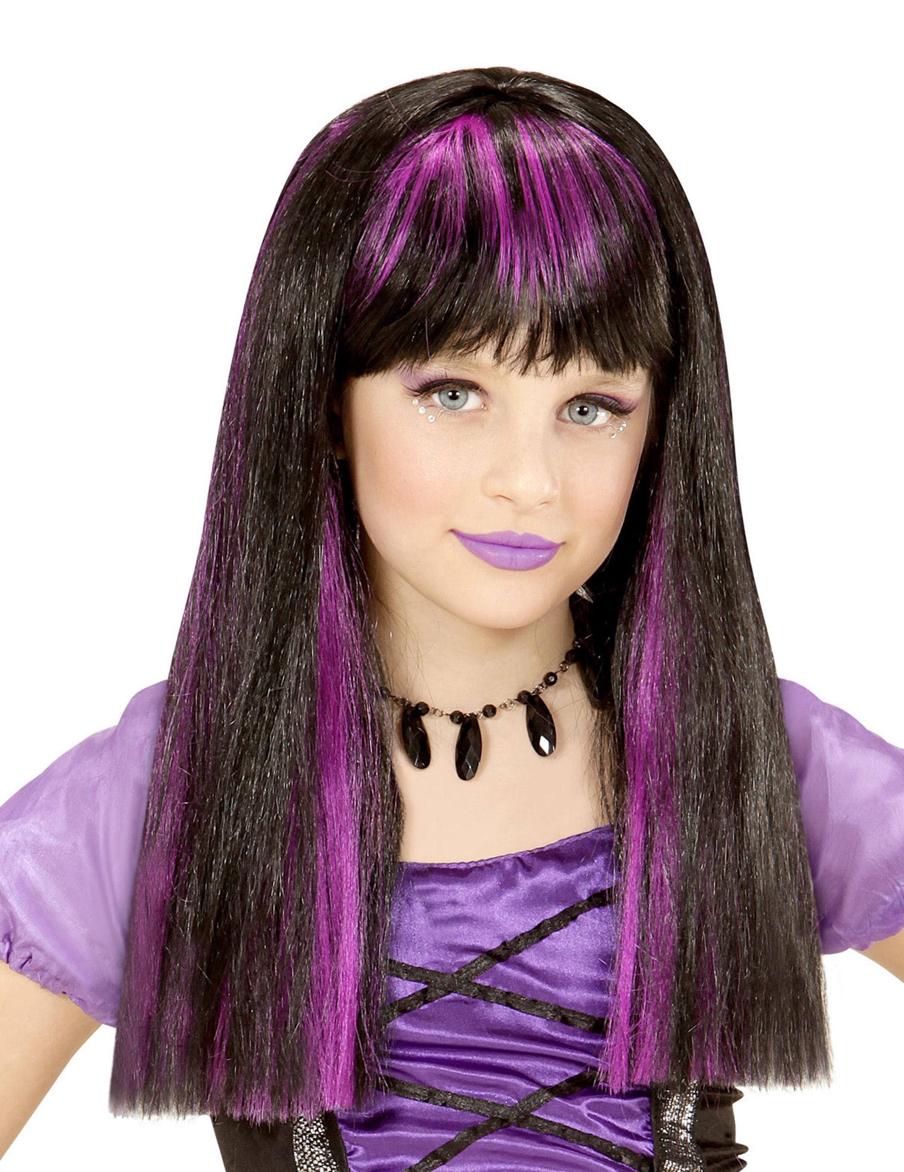 Hexen-Perücke für Mädchen Kostümzubehör schwarz-lila 296154