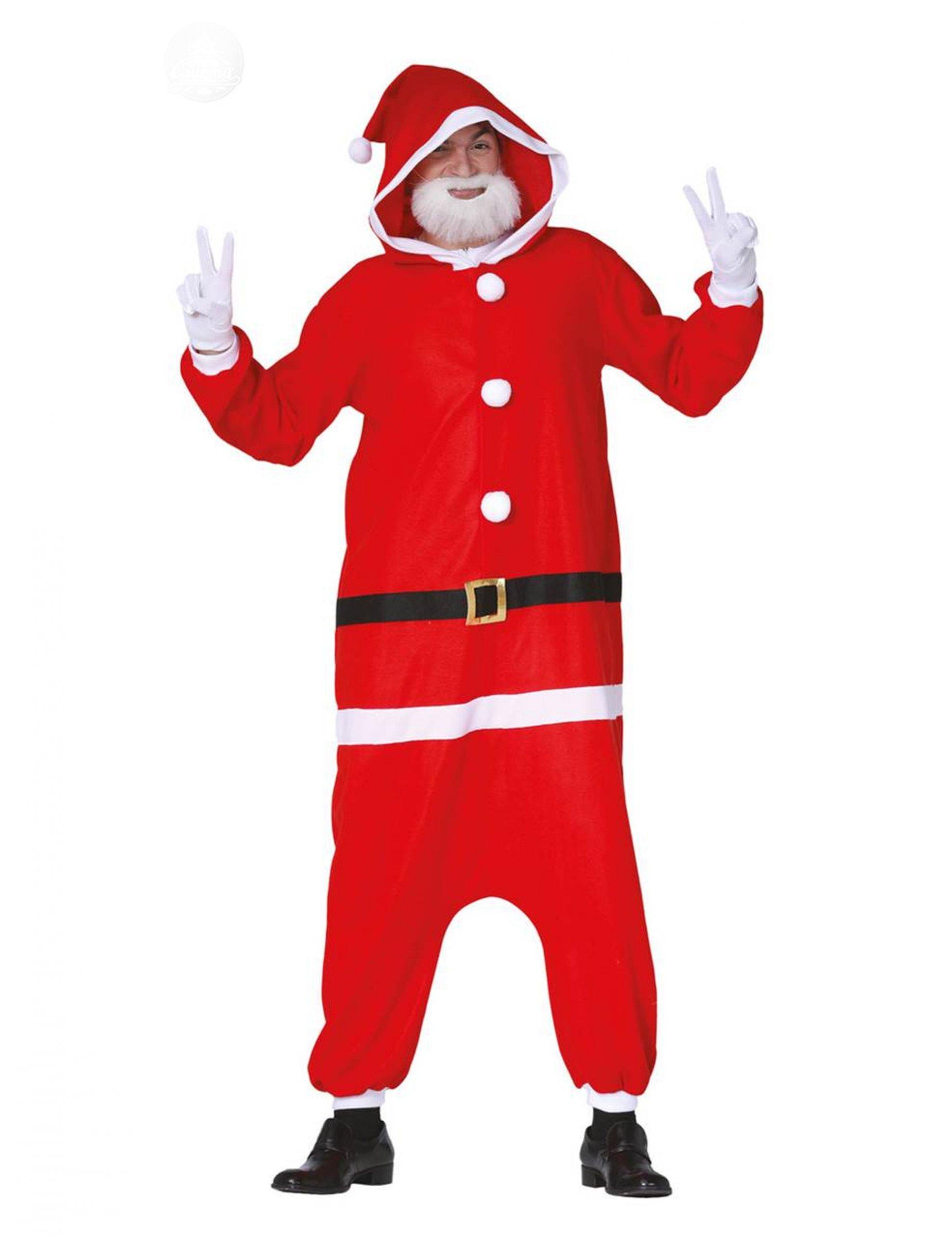 Weihnachtsmann-Overall für Erwachsene Pyjama-Einteiler rot-weiss - L (42-44) 297229