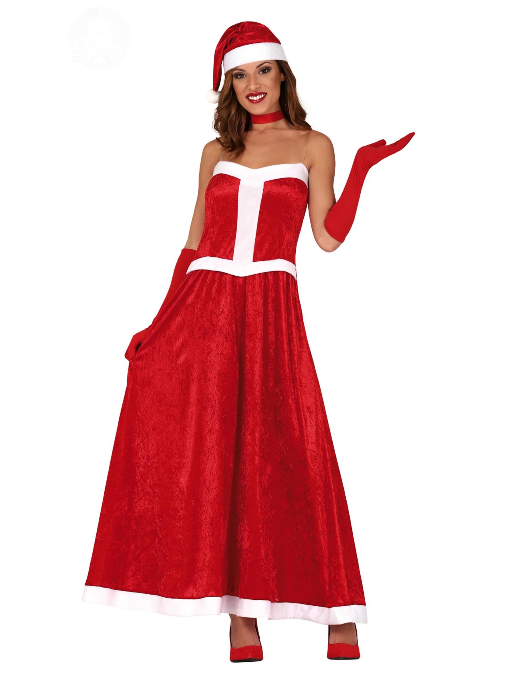Langes Weihnachtsfrau-Kostüm für Damen rot - M/L (42-44) 297249
