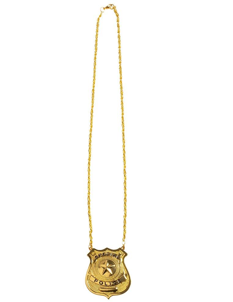 #Halskette mit Polizei-Abzeichen Kostüm-Accessoire goldfarben#