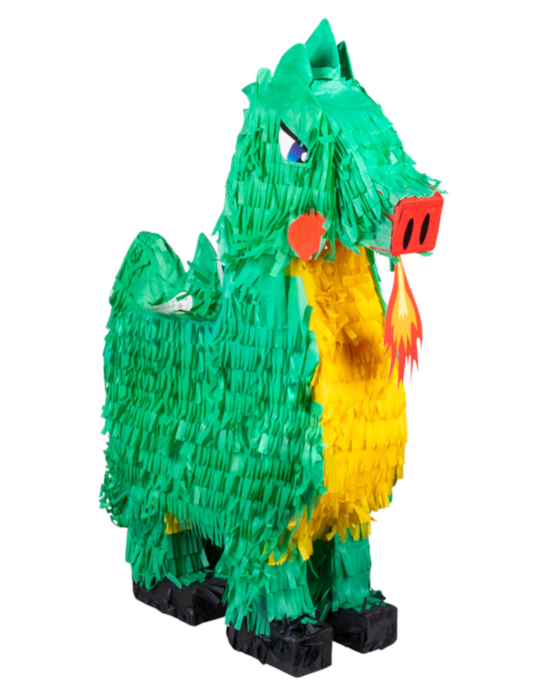 Drachen-Piñata Partydeko grün-gelb 49x47 cm 297895