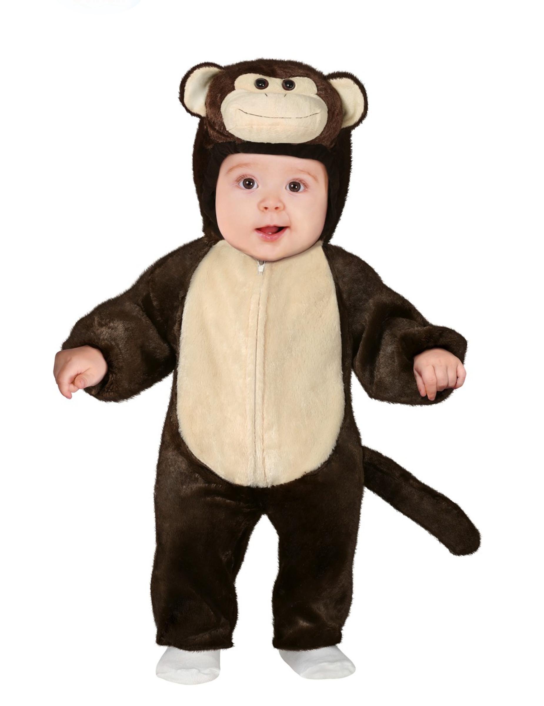 Süßes Affenbaby-Kostüm für Karneval Tier-Overall braun-beige - 80/86 (12-18 Monate) 299067