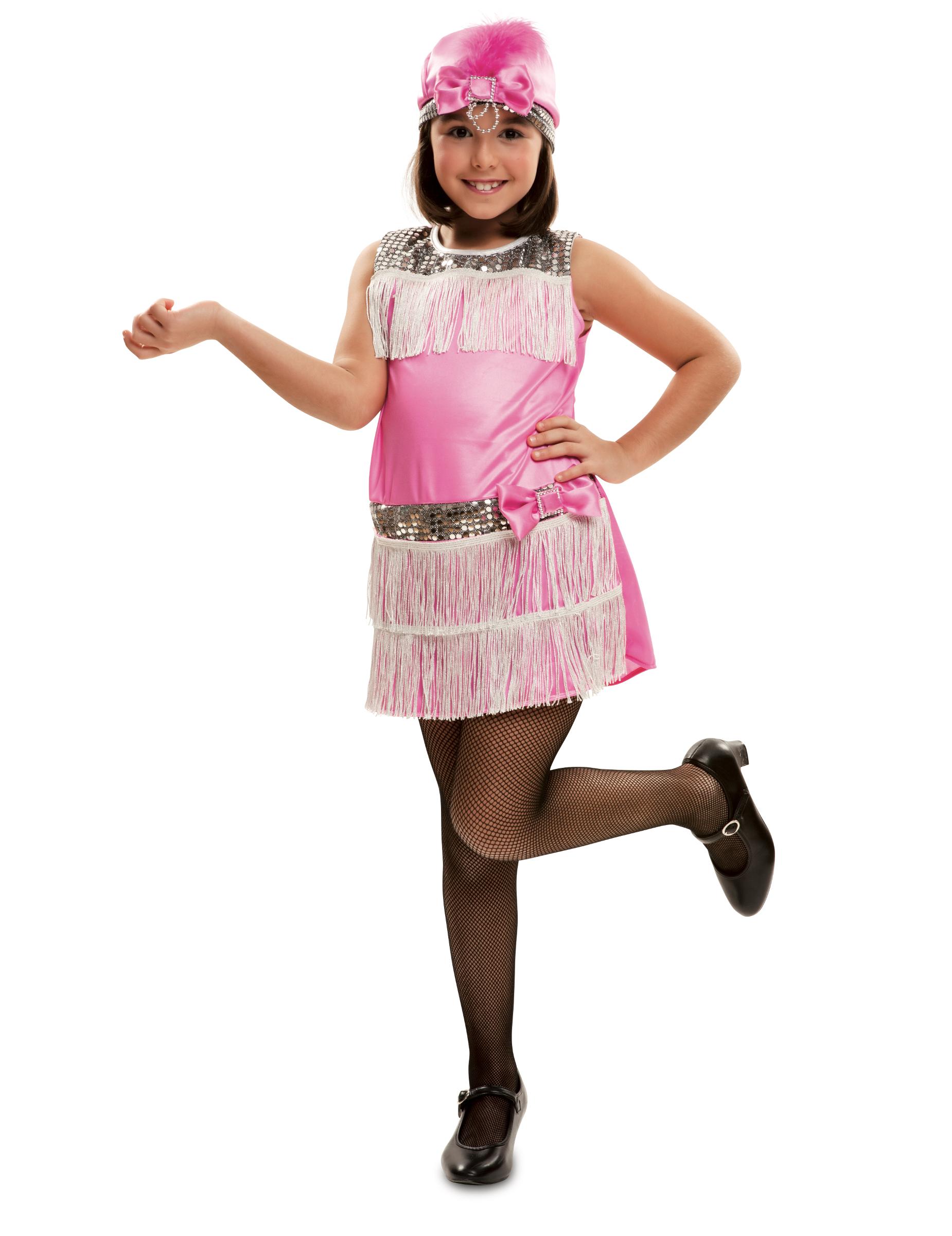 #20er-Jahre-Mädchenkostüm für Fasching Charleston rosa-silberfarben#