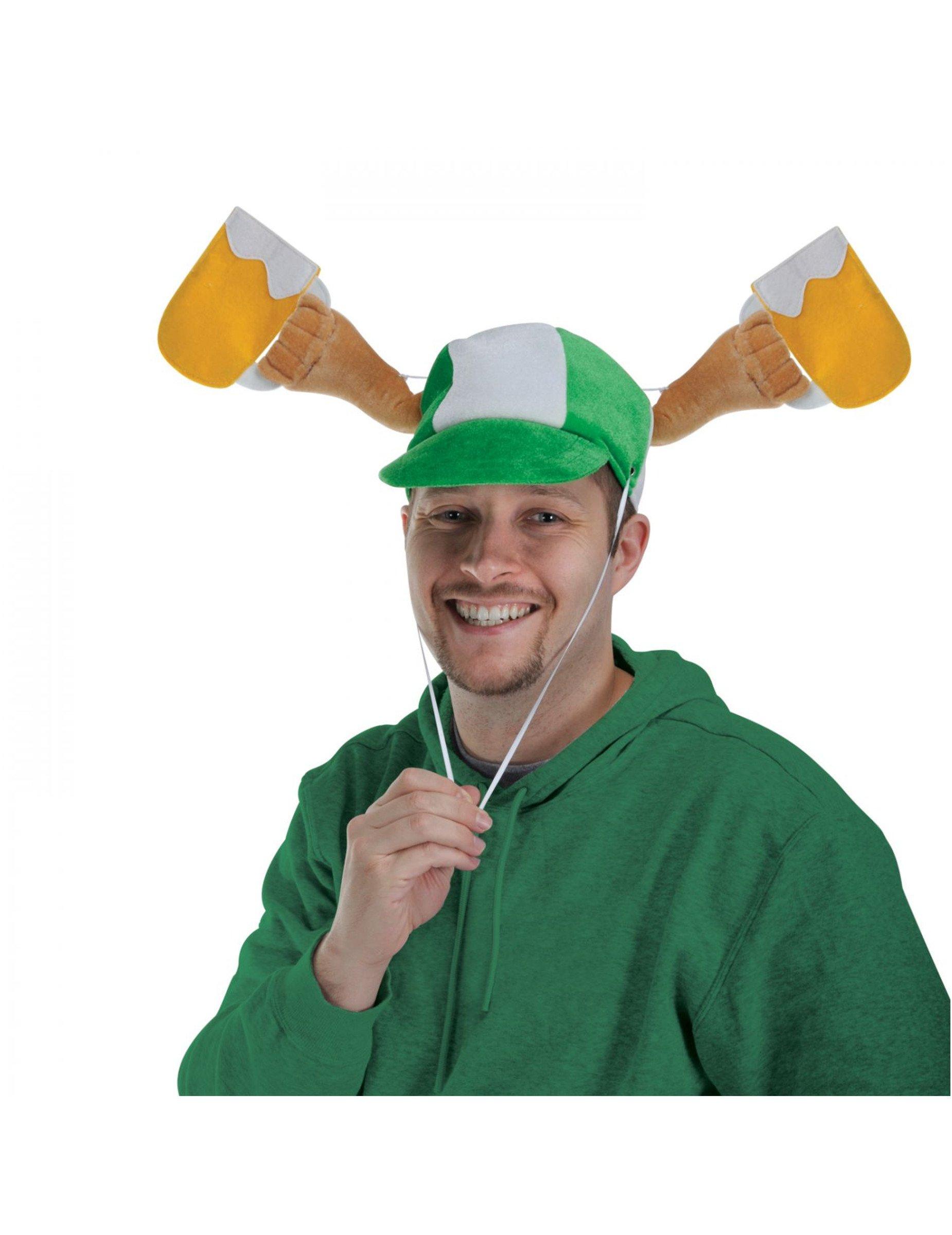 St. Patricks Day Hut mit Bierkrügen Party-Accessoire grün-gelb 300273