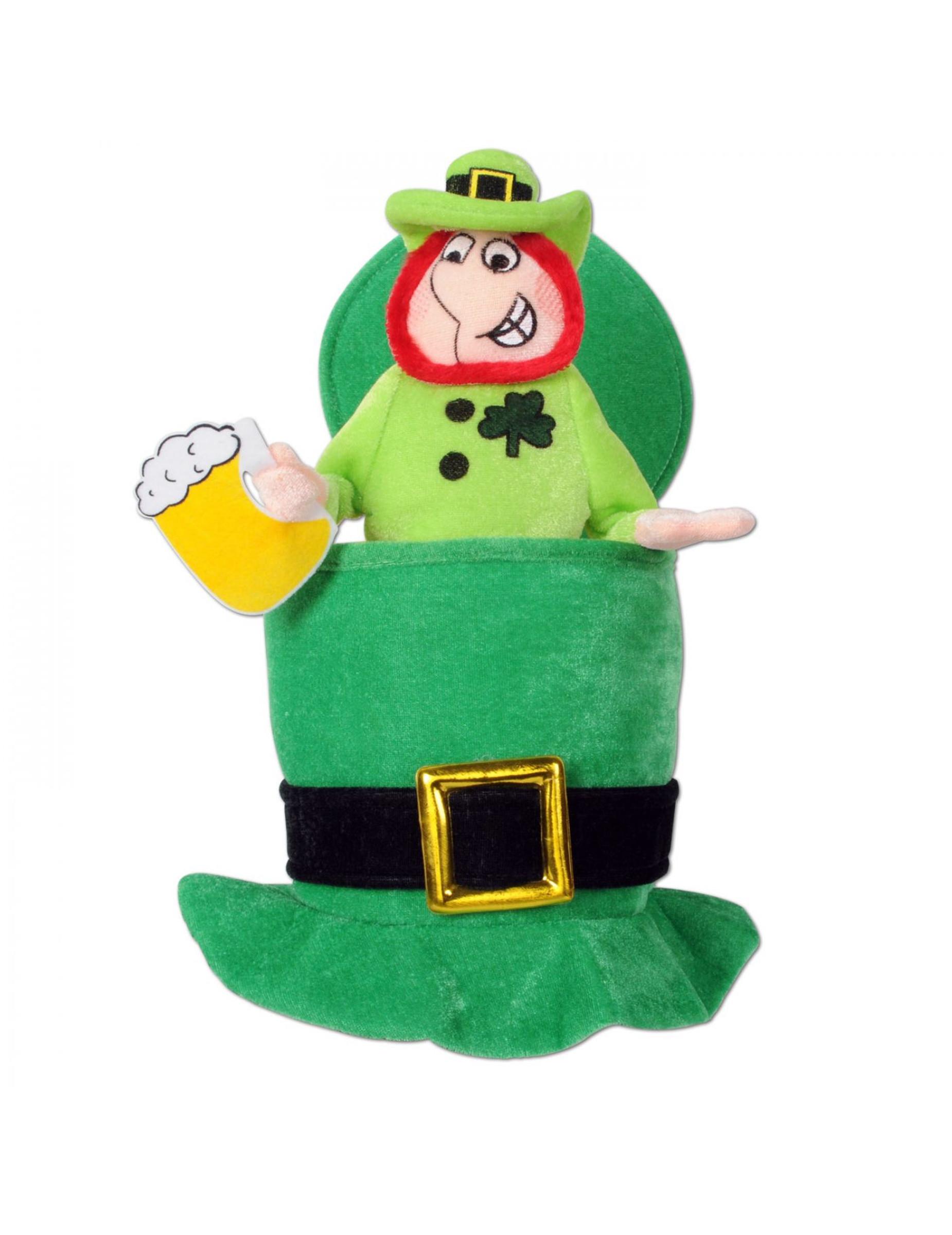 Witziger St.-Patrick's-Day-Hut betrunkener Kobold grün 300275