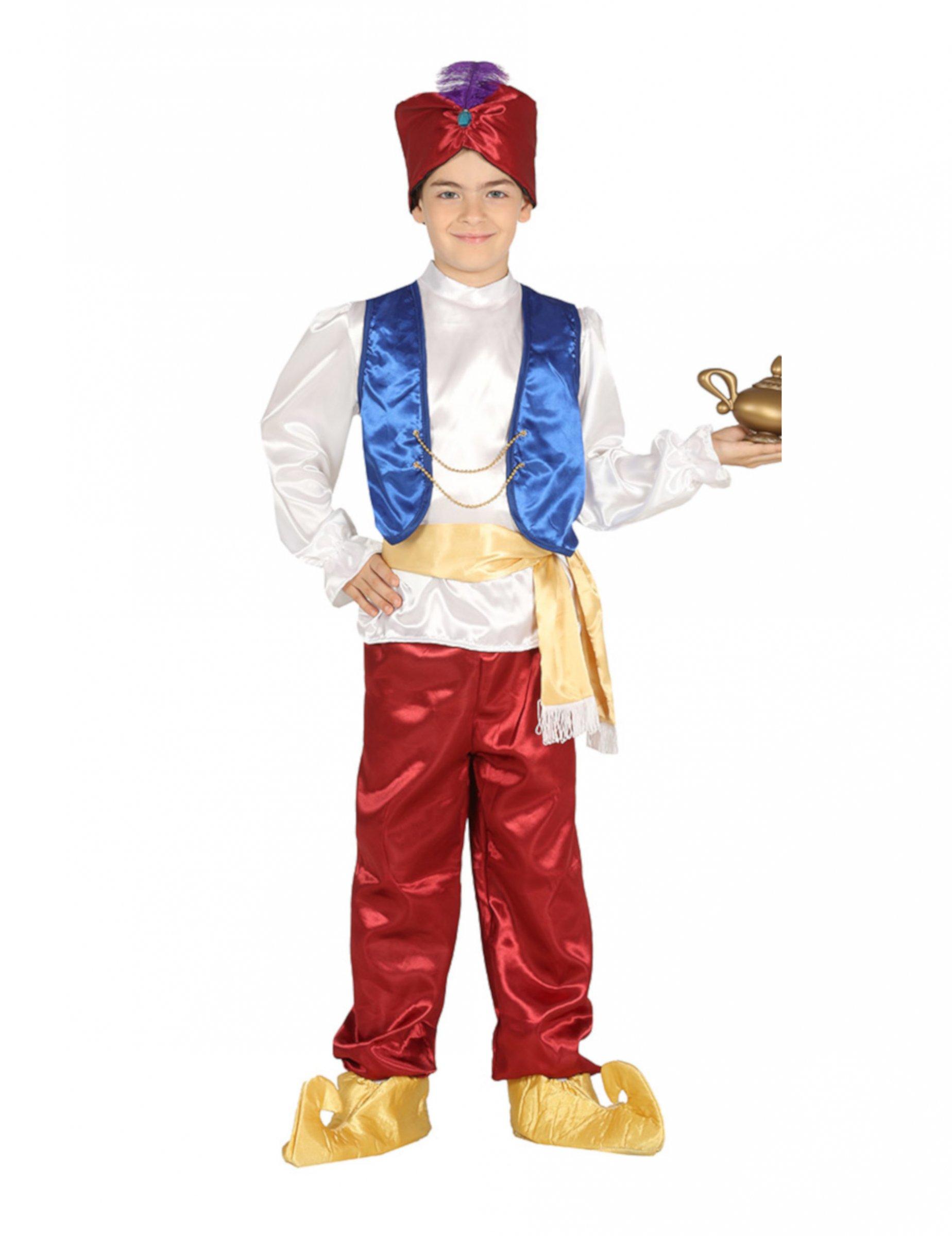 Orientalisches-Kostüm für Jungen Wüstenprinz rot-weiss-blau - 123/134 (7-9 Jahre) 301043