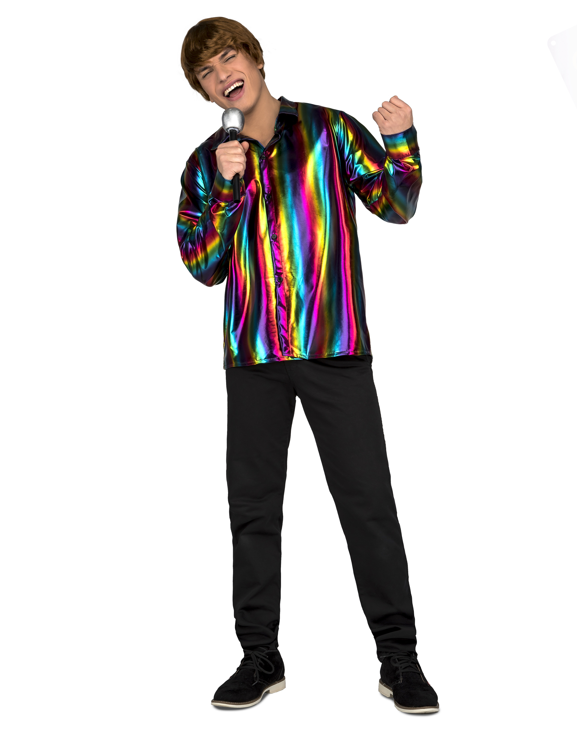 Party-Hemd Disco-Outfit für Fasching bunt - M / L 301219
