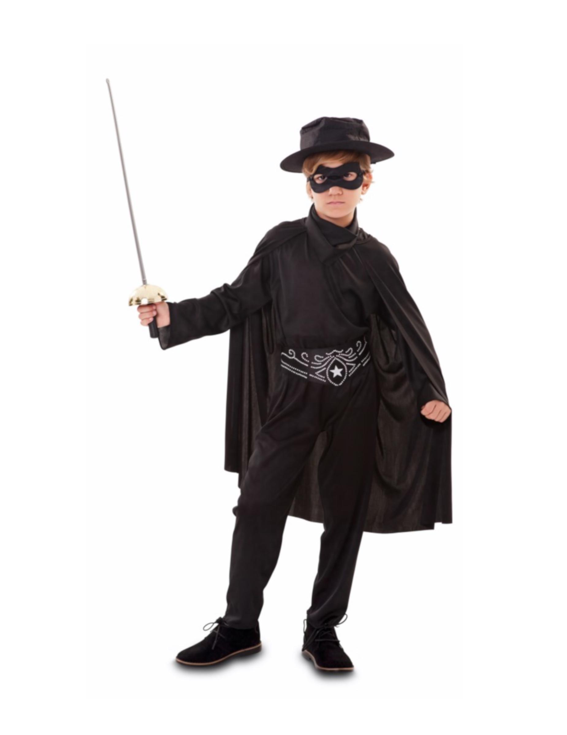 Maskierter-Rächer-Kostüm für Jungen schwarz - 122/134 (7-9 Jahre) 301483