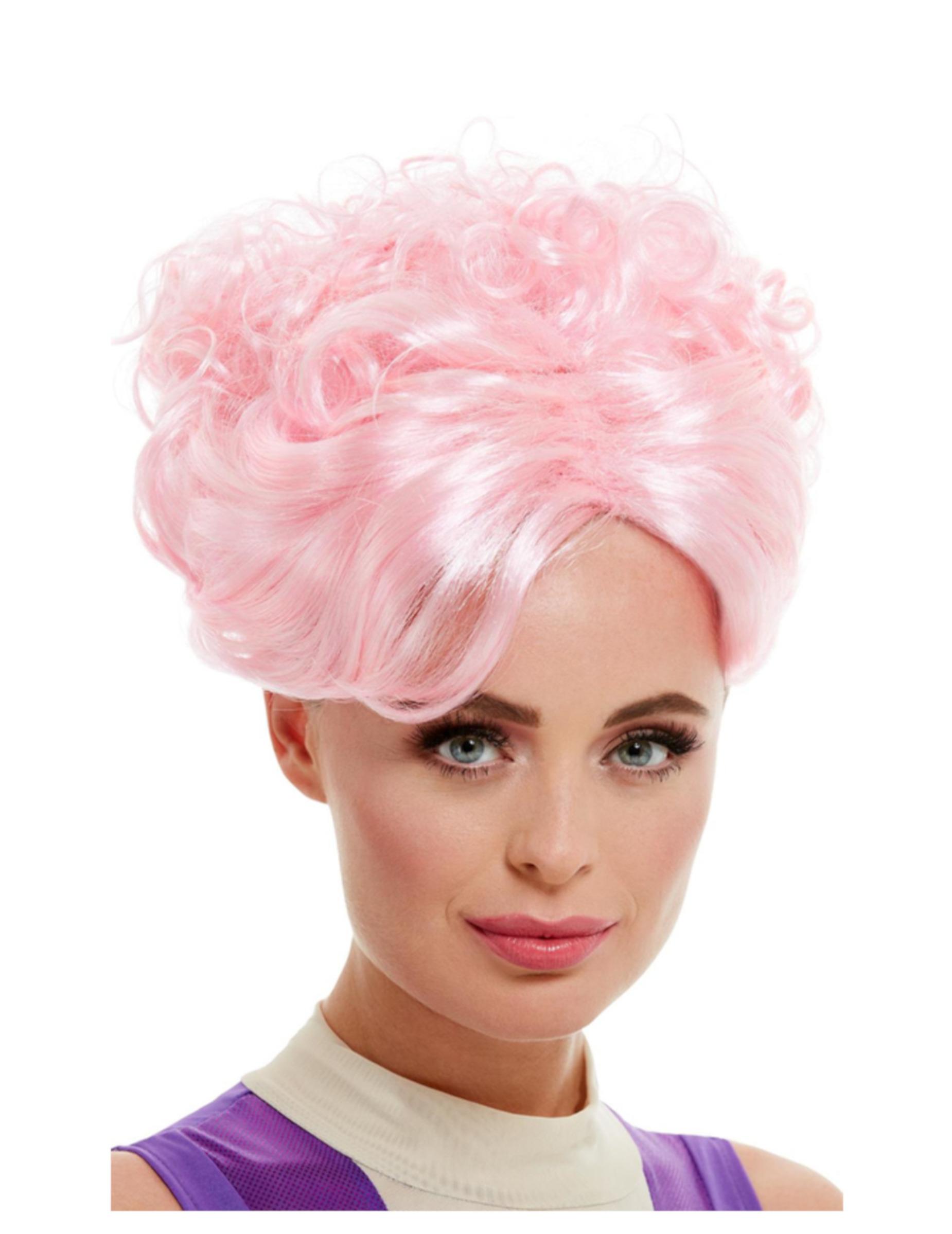 Futuristische-Hochsteckfrisur Damenperücke für die Zukunft rosa 301725