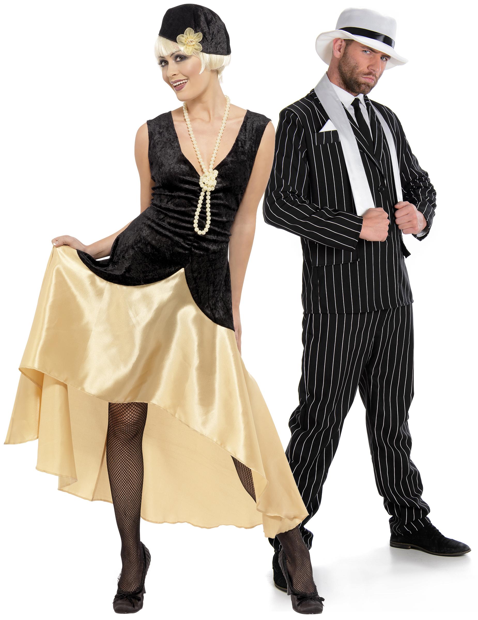 20er Jahre Partnerkostüm für Erwachsene Charleston Kostüme schwarz weiss goldfarben