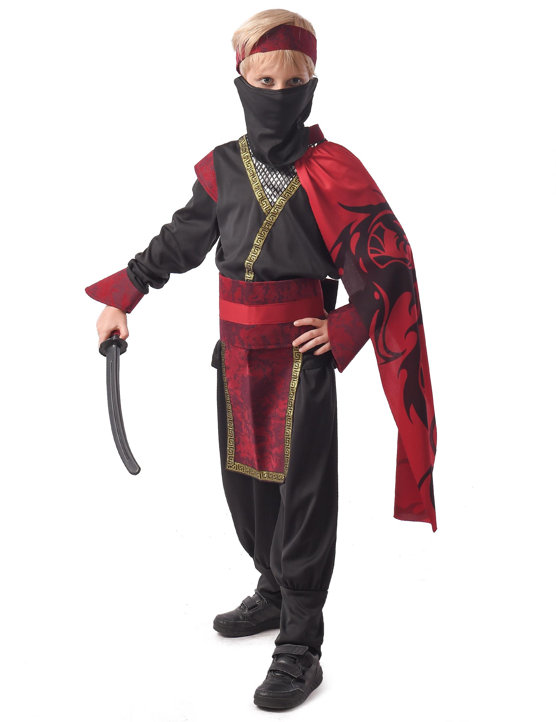 Ninja-Karnevalskostüm für Jungen rot-schwarz - 110/116 (4-6 Jahre) 304085