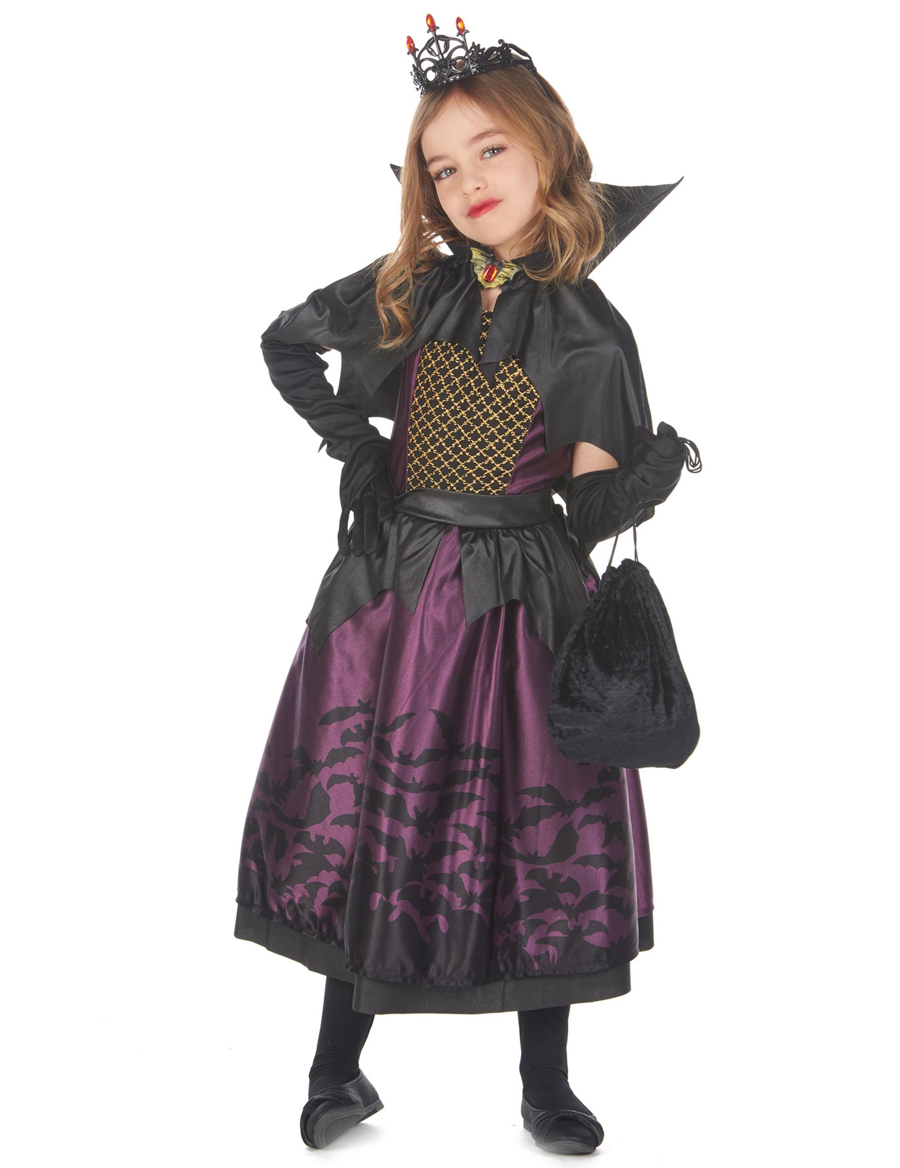 edles vampirkostüm für mädchen mit fledermäusen lila