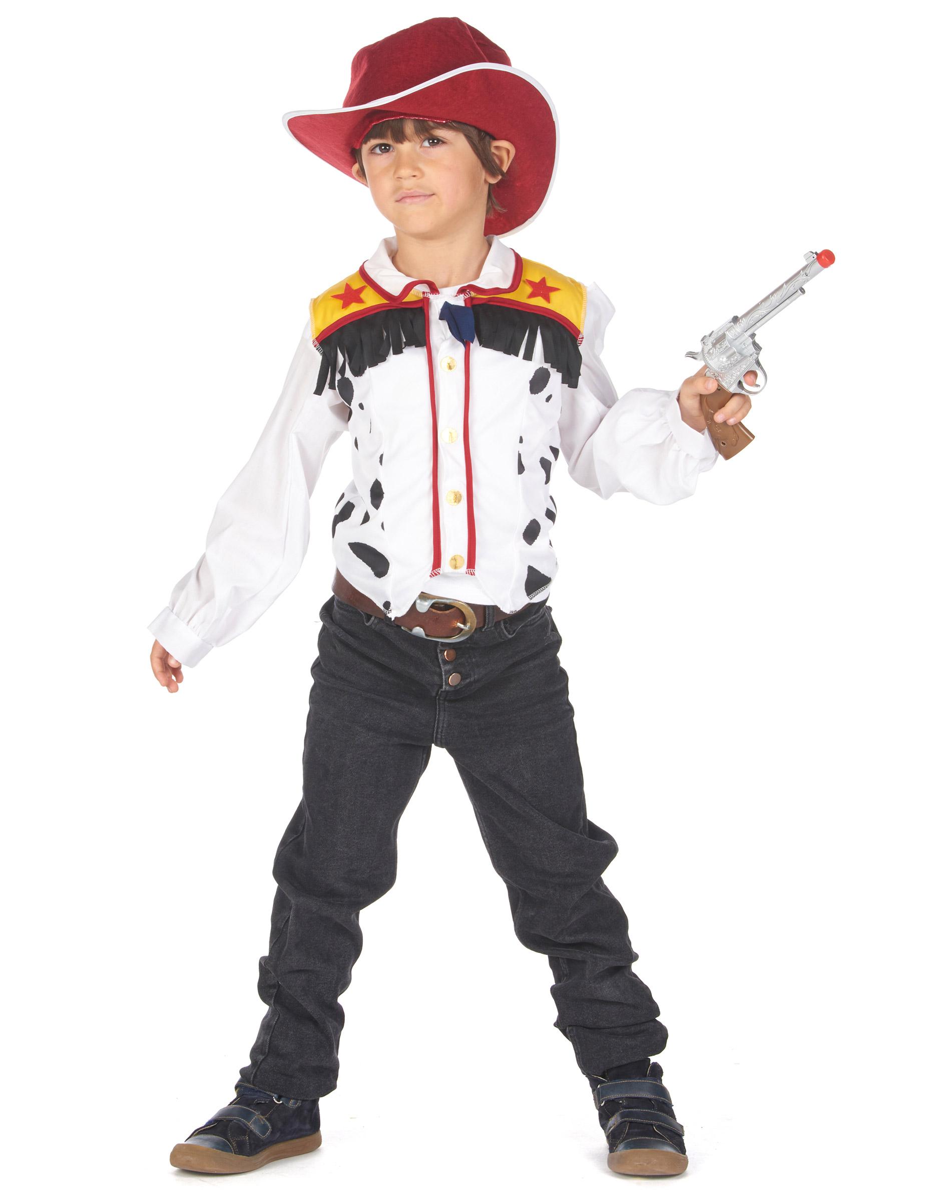 Frecher Cowboy Jungen-Kostüm für Fasching weiss-rot-gelb - 122/134 (7-9 Jahre) 304157