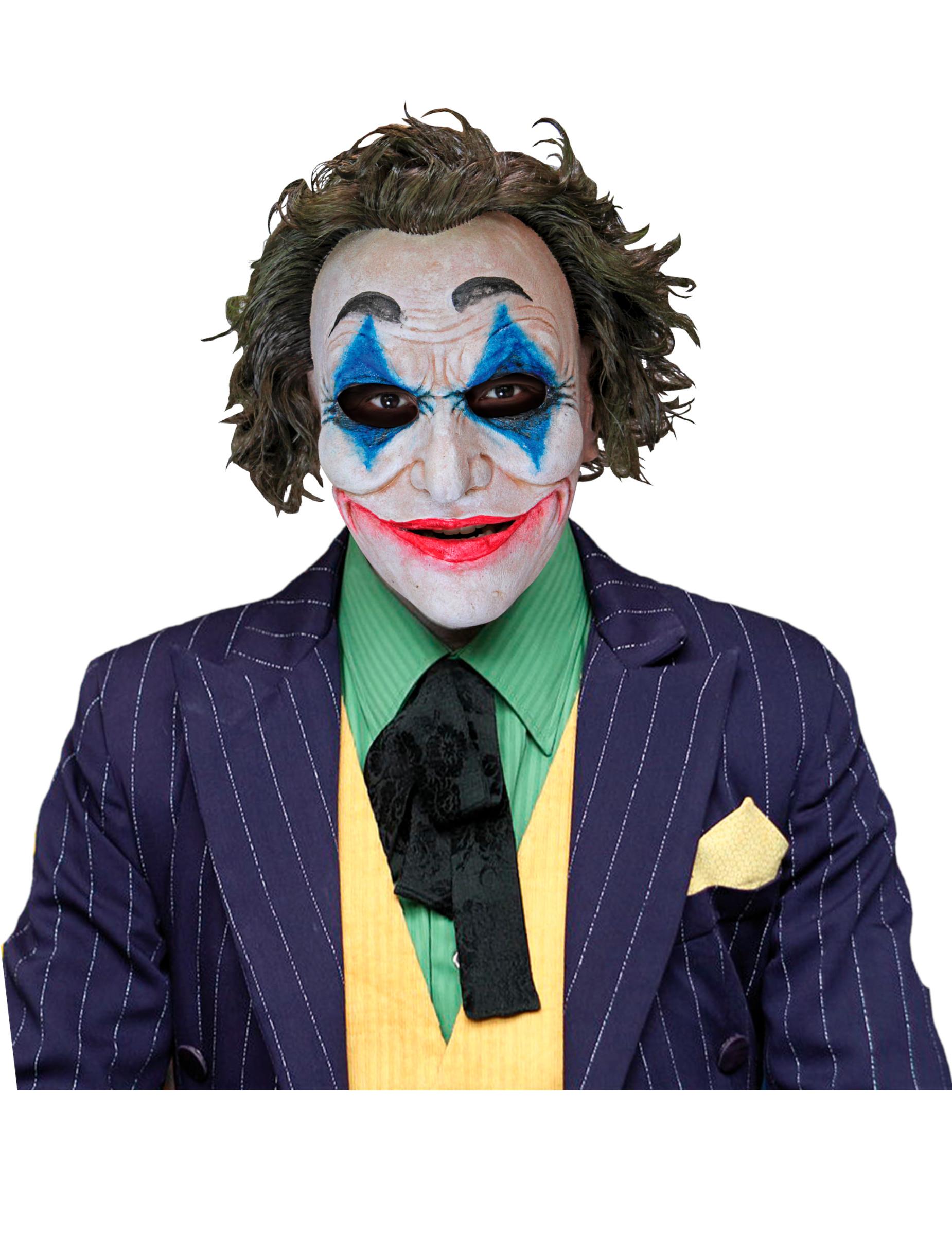Film-Maske für Halloween verrückte Clownmaske weiss-blau 304273