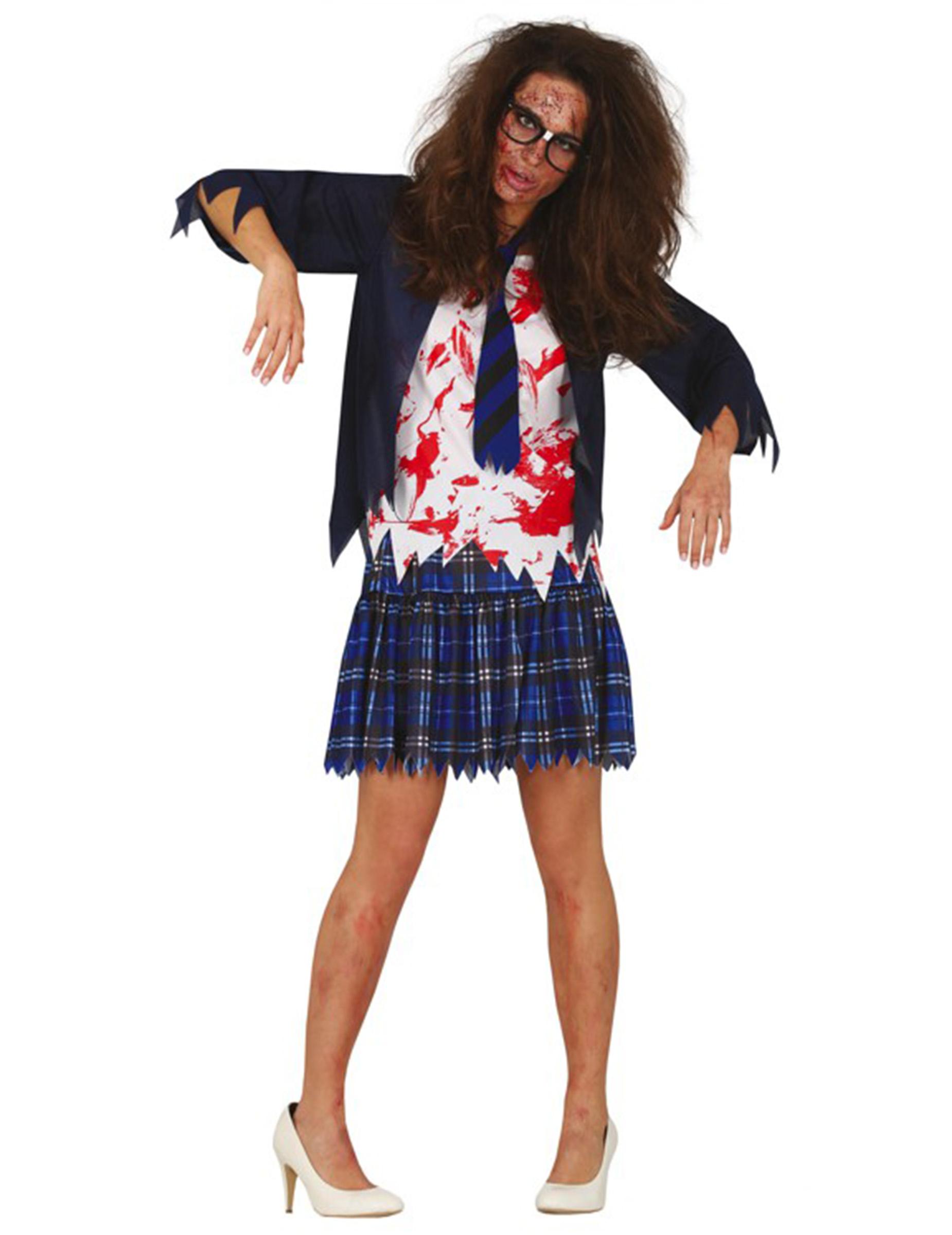 Blutiges Zombie-Schulmädchen-Kostüm blau-weiss-rot