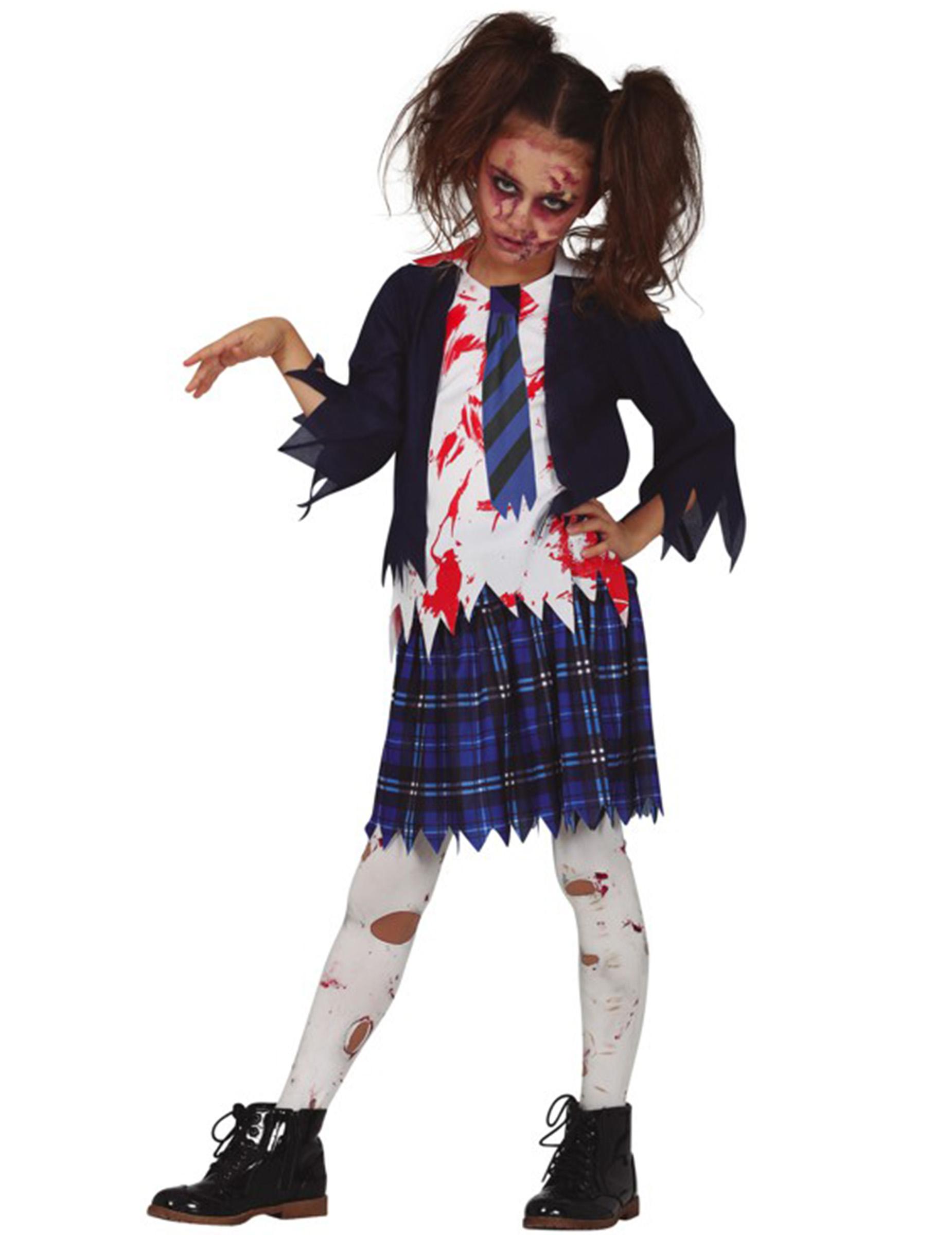 Zombie-Schulmädchen Kostüm für Kinder Halloweenkostüm blau