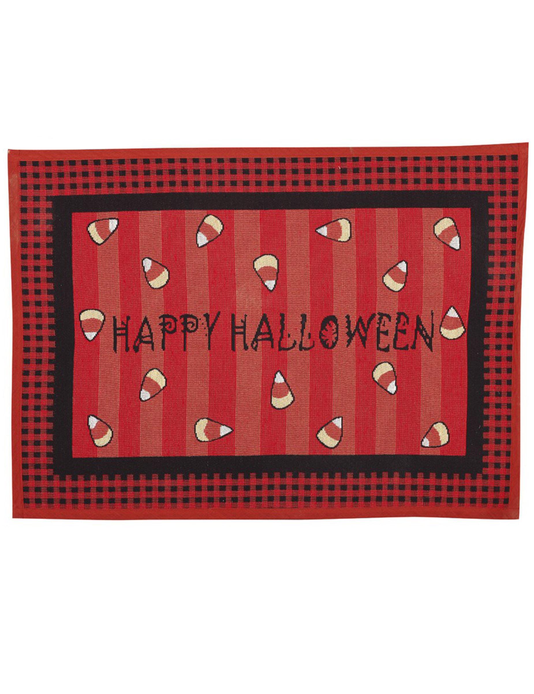 Fussabtreter für Halloween Happy Halloween-Partydeko rot-schwarz 306119
