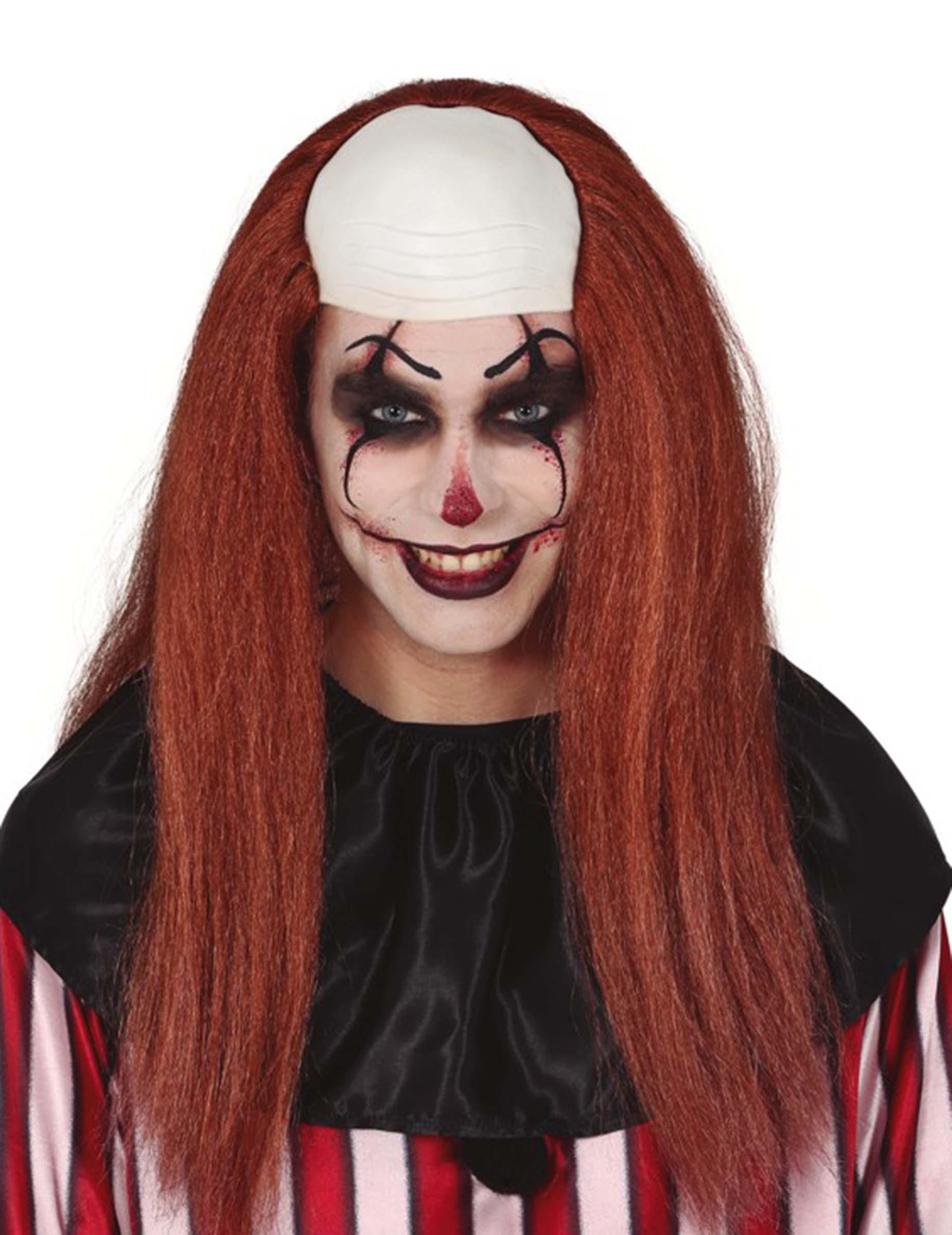 Clown-Kopfbedeckung mit Glatze und Langhaarperücke für Erwachsene Rot 306123