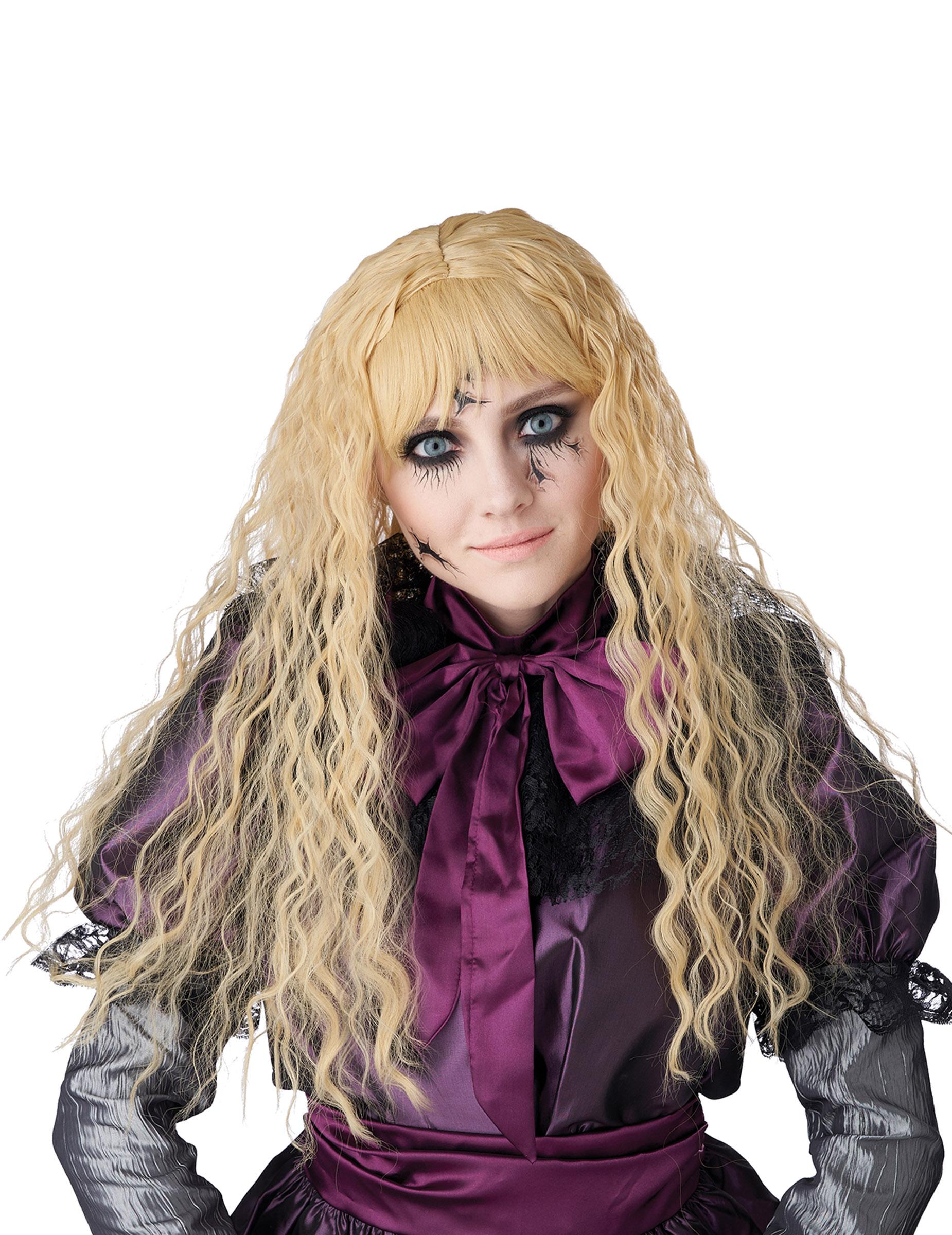 Kinder-Perücke wellig lang für Halloween und Karneval blond 307189
