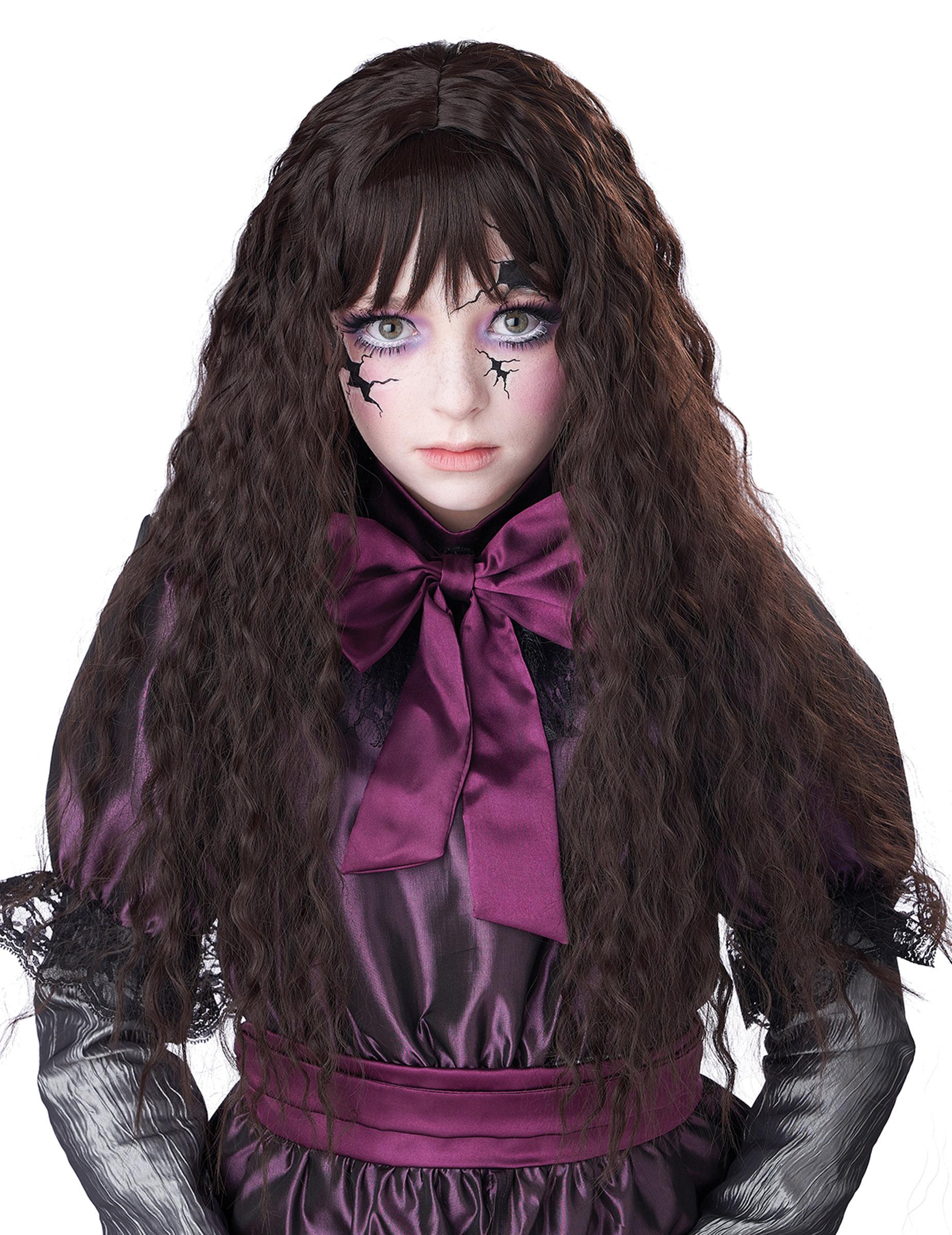 Puppen-Perücke Horrorpuppe für Halloween langhaarig für Kinder dunkelbraun 307193