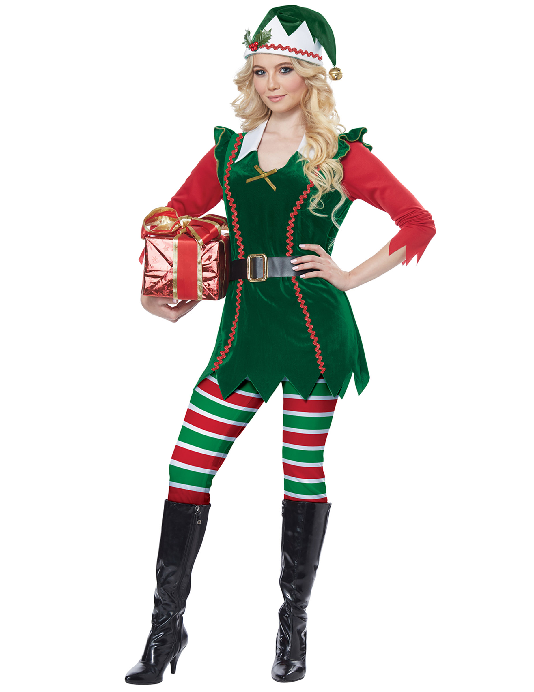 Hübsche Weihnachts-Elfin Damenkostüm für Weihnachten grün-weiß-rot - S (38/40) 307215