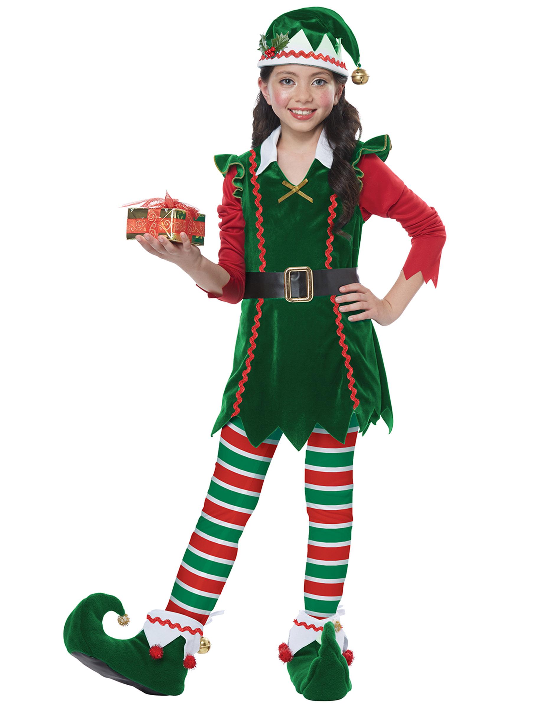 Weihnachtself-Kostüm für Mädchen grün-rot-weiss - 134 (6-8 Jahre) 307225