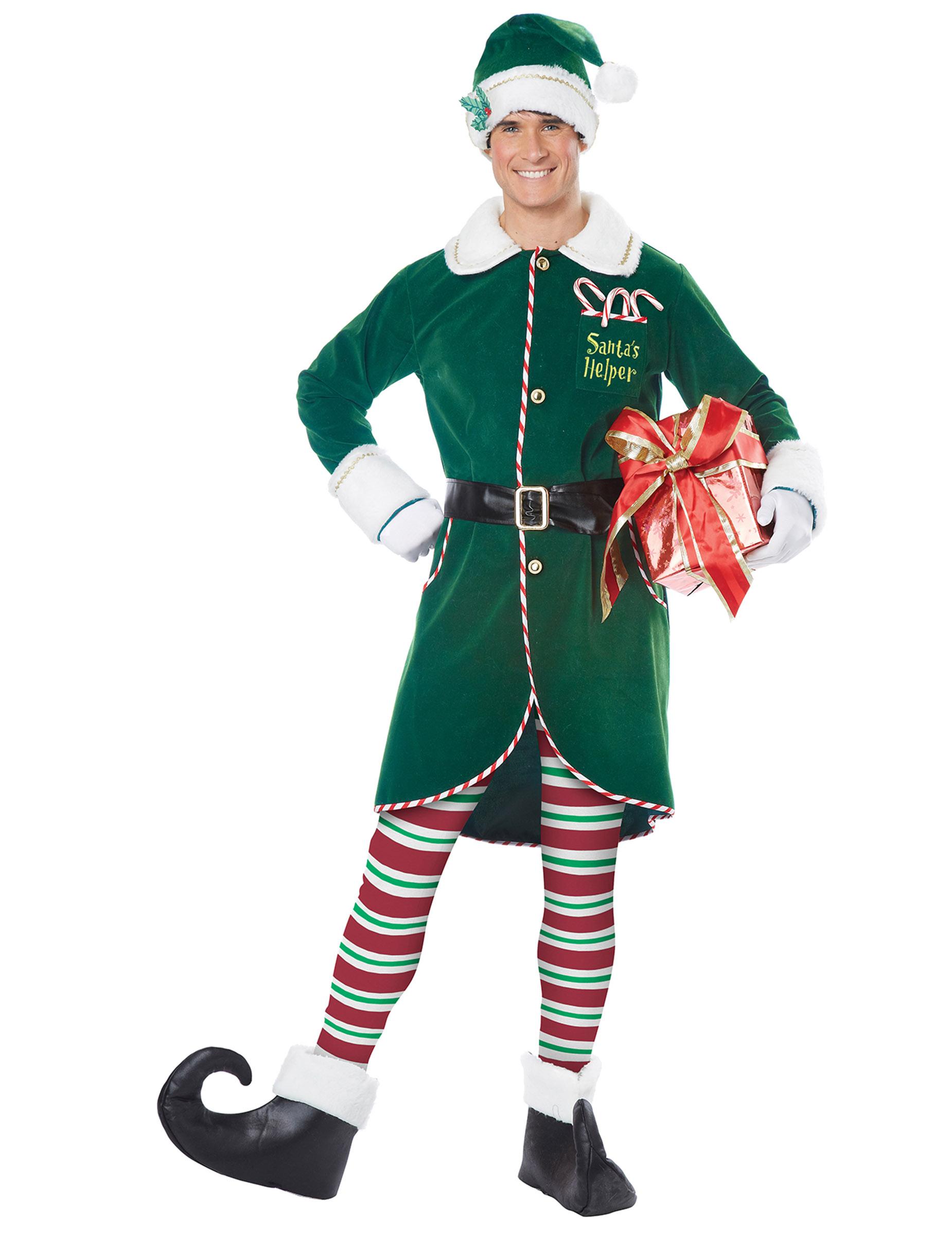 Weihnachtself-Kostüm für Herren Weihnachten grün-weiss-rot - S / M 307231