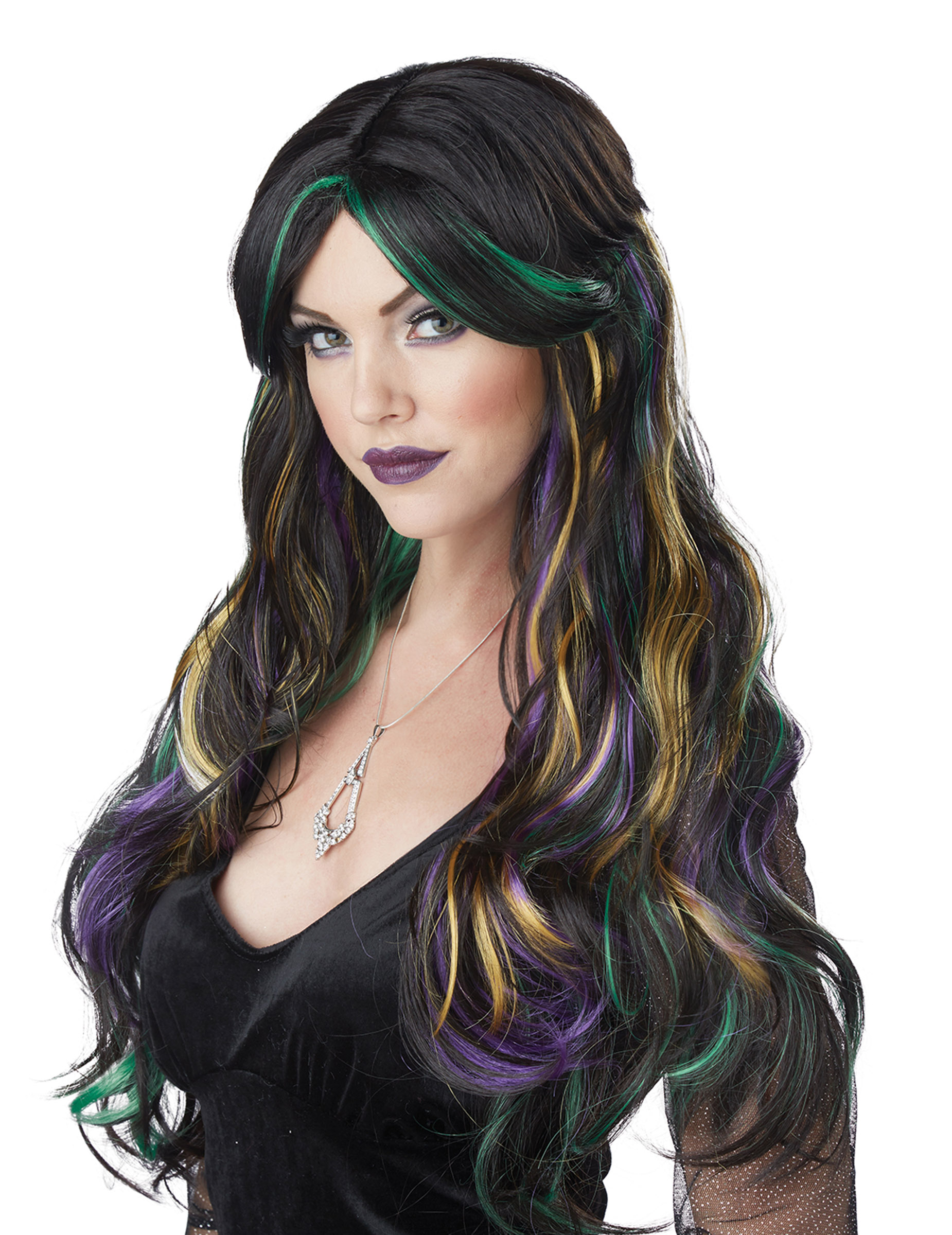 Hexen-Perücke für Halloween Damen-Accessoire schwarz-bunt 307233