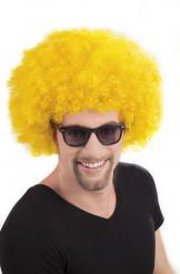 Afro-Perücke Disko gelb für Erwachsene