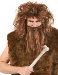 Perücke und Bart braun Höhlenmensch
