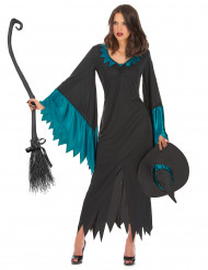 Damen-Hexenkostüm für Halloween blau-schwarz