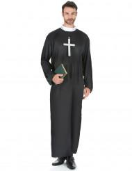 Priester-Herrenkostüm für Karneval schwarz-weiss