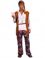 Hippiekostüm für Männer mit Stirnband bunt