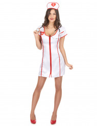 Krankenschwester-Damenkostüm sexy weiss-rot